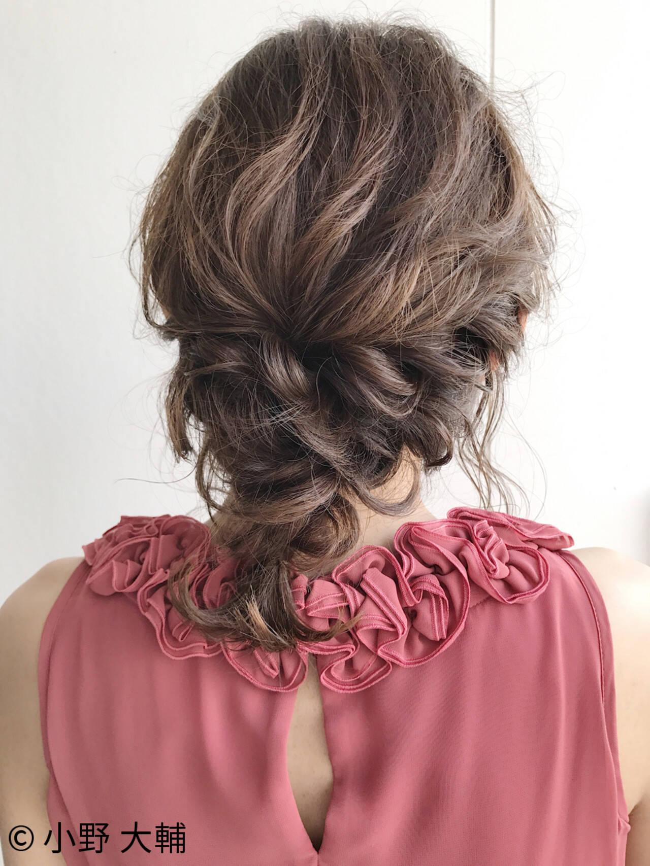 ナチュラル 編み込み ミディアム ヘアアレンジヘアスタイルや髪型の写真・画像