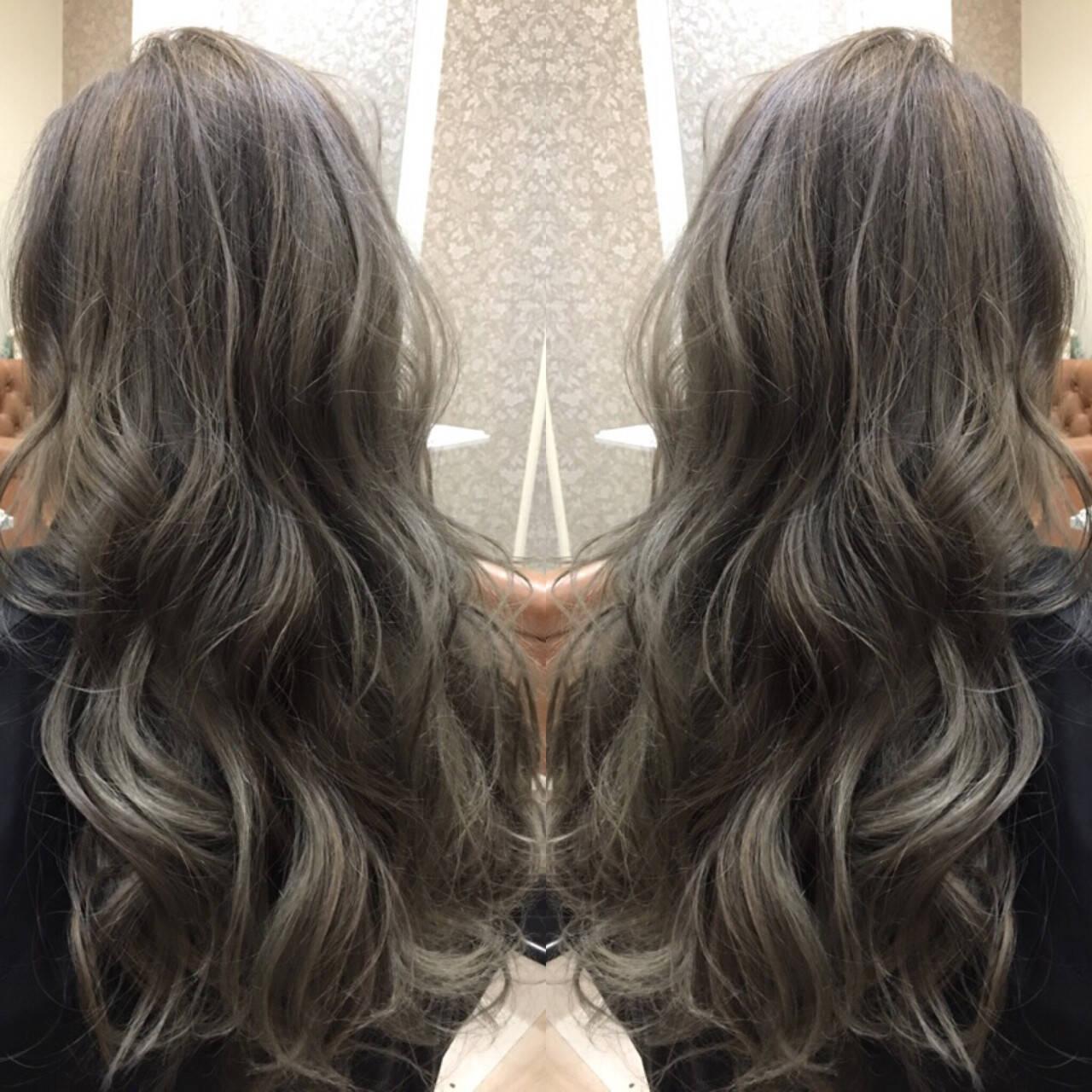 グラデーションカラー アッシュ モード 渋谷系ヘアスタイルや髪型の写真・画像