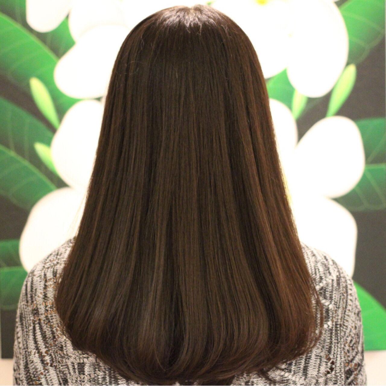 縮毛矯正 艶髪 ワンカール セミロングヘアスタイルや髪型の写真・画像