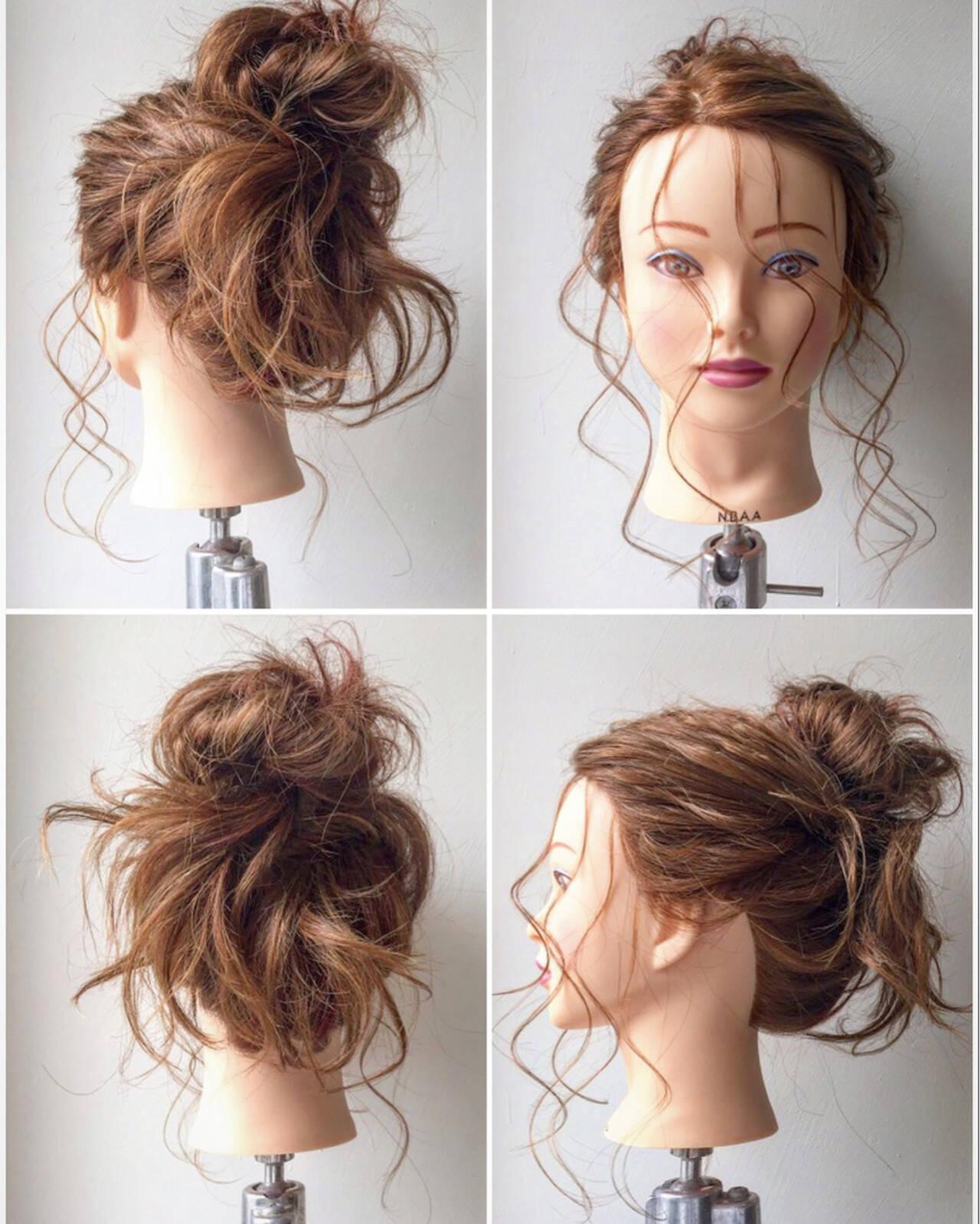 ヘアアレンジ お団子 ガーリー セミロングヘアスタイルや髪型の写真・画像