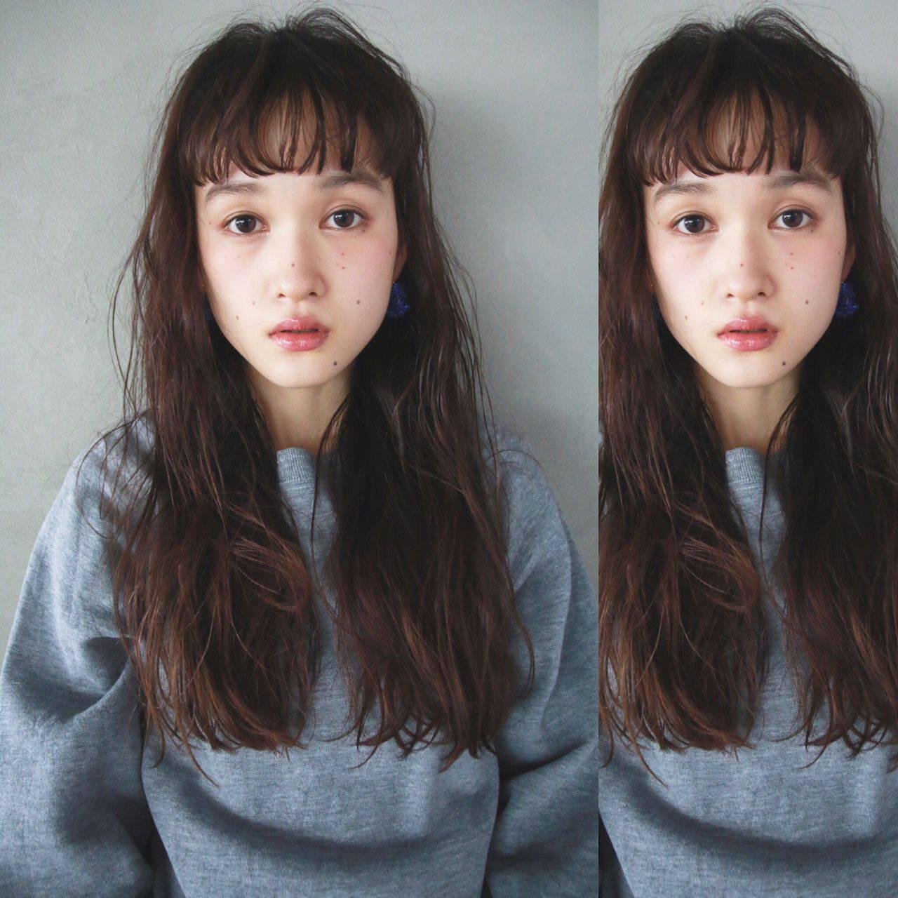 ロング ナチュラル ショートバング シースルーバングヘアスタイルや髪型の写真・画像