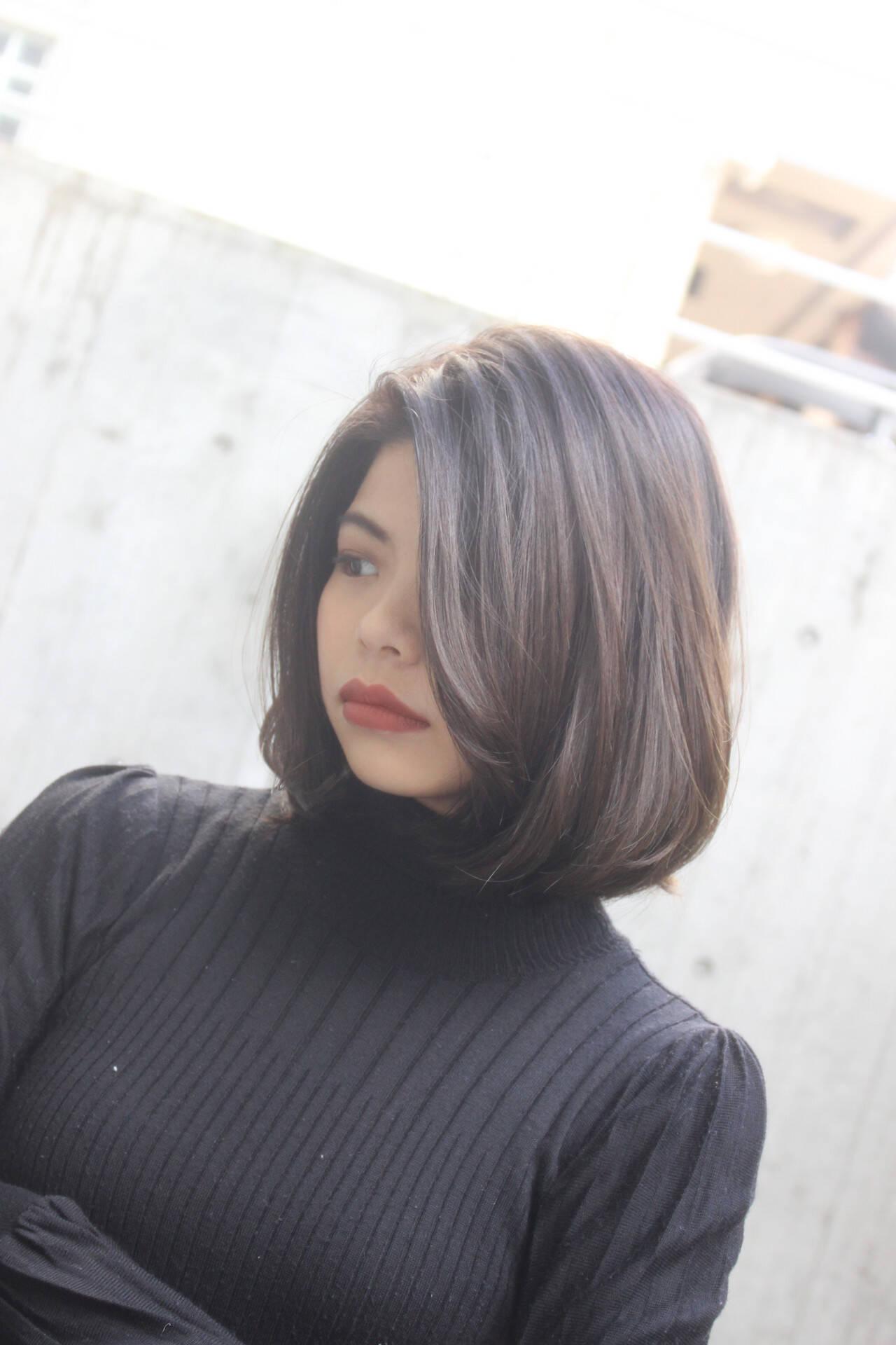 グラデーション 艶カラー ボブ イルミナカラーヘアスタイルや髪型の写真・画像