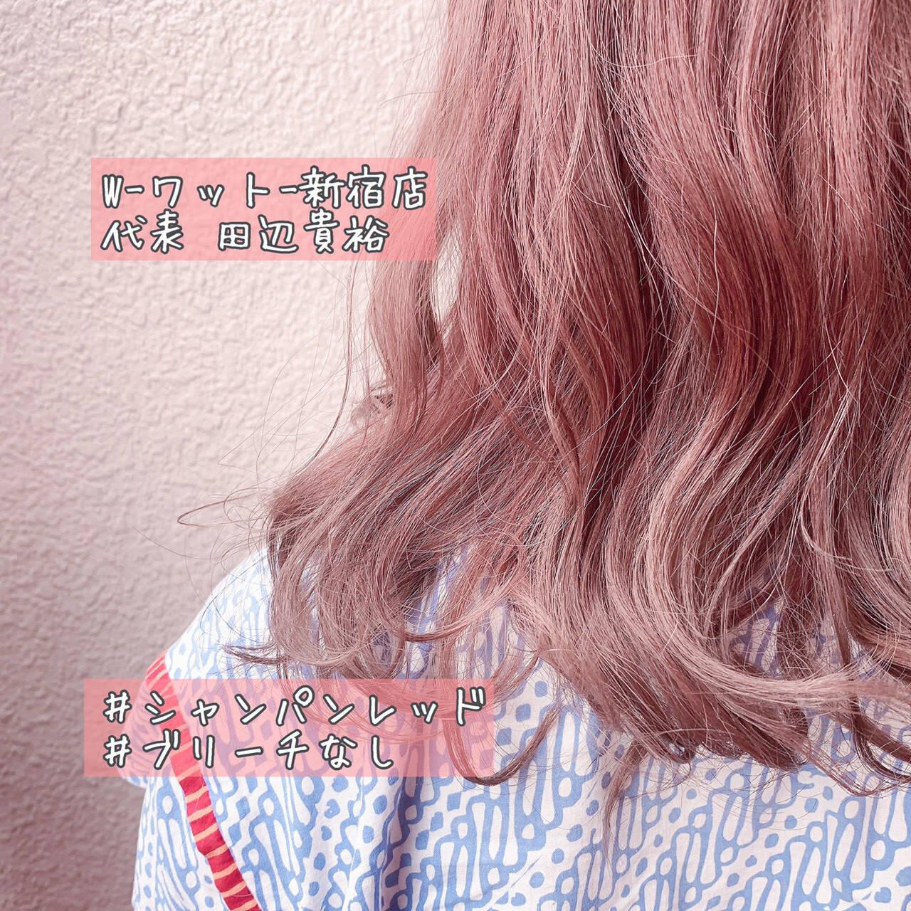 ミディアム ピンクベージュ 切りっぱなしボブ ガーリーヘアスタイルや髪型の写真・画像