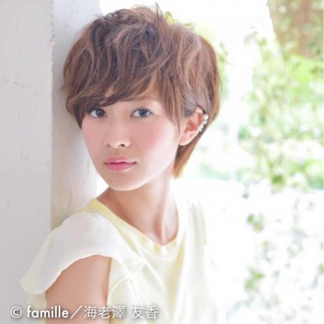 フェミニン モテ髪 ナチュラル ショートヘアスタイルや髪型の写真・画像