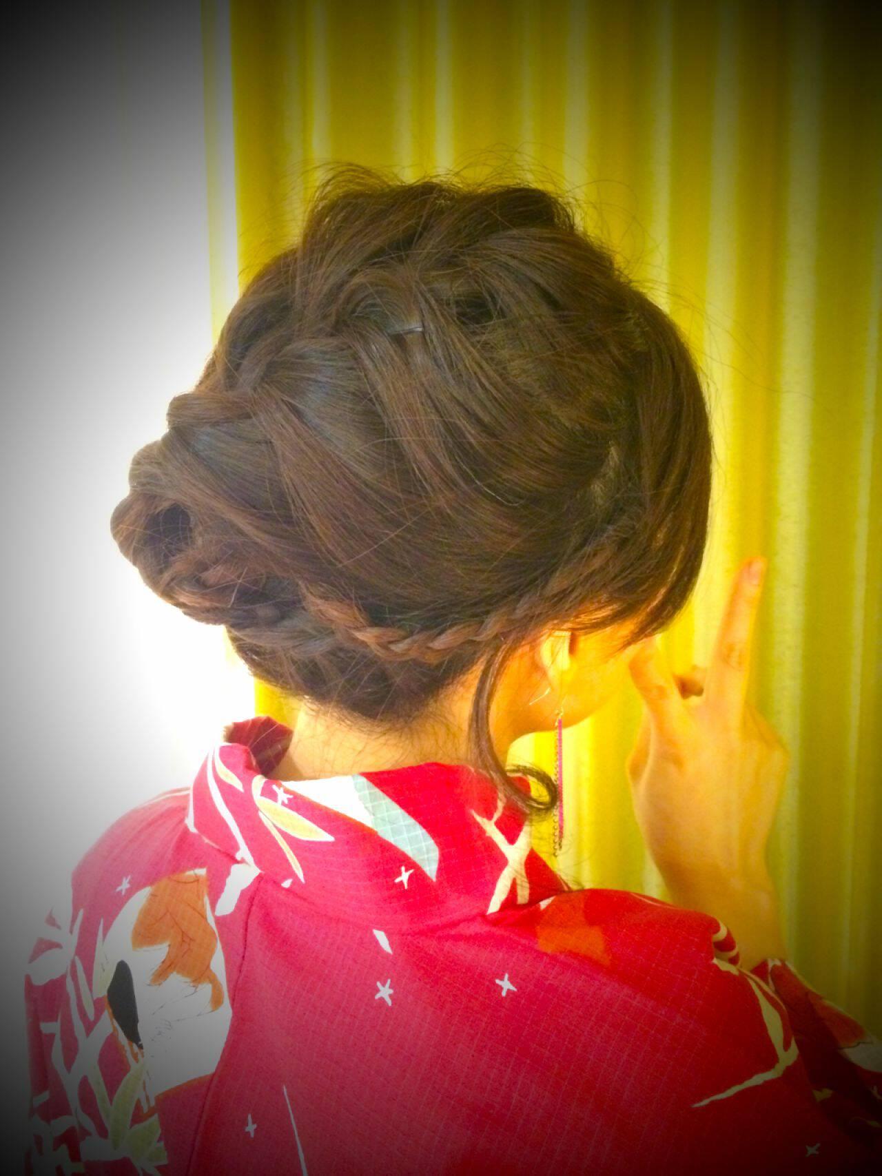 アップスタイル 編み込み モテ髪 愛されヘアスタイルや髪型の写真・画像