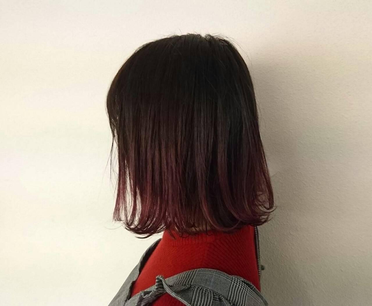 グラデーションカラー ストリート ピンク ダブルカラーヘアスタイルや髪型の写真・画像