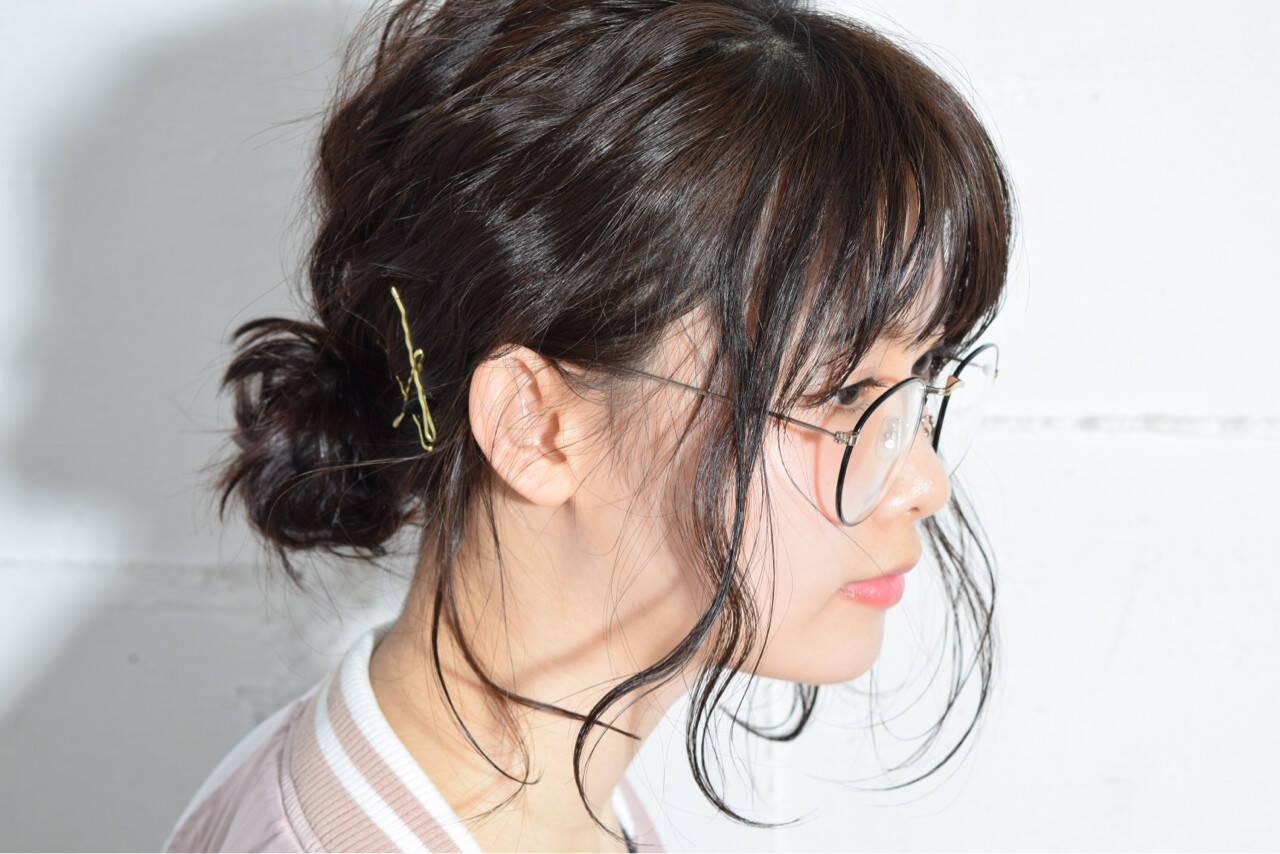 黒髪 ヘアアレンジ ミディアム 簡単ヘアアレンジヘアスタイルや髪型の写真・画像