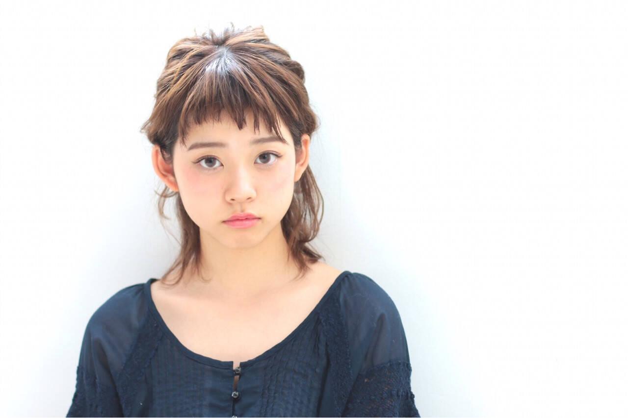 ハーフアップ ヘアアレンジ ガーリー ミディアムヘアスタイルや髪型の写真・画像
