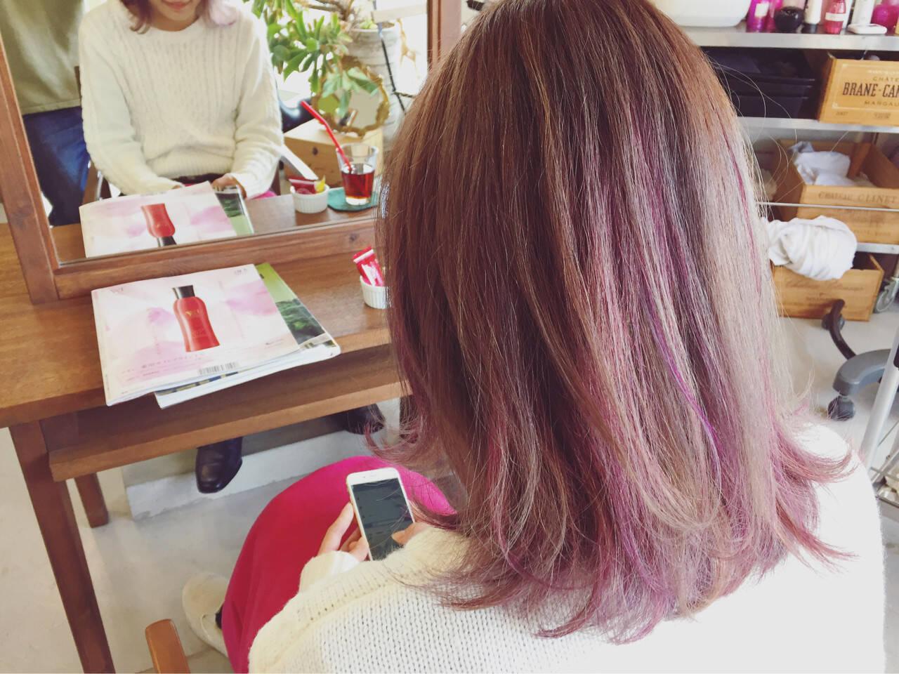 ストリート グラデーションカラー 外国人風 ピンクヘアスタイルや髪型の写真・画像