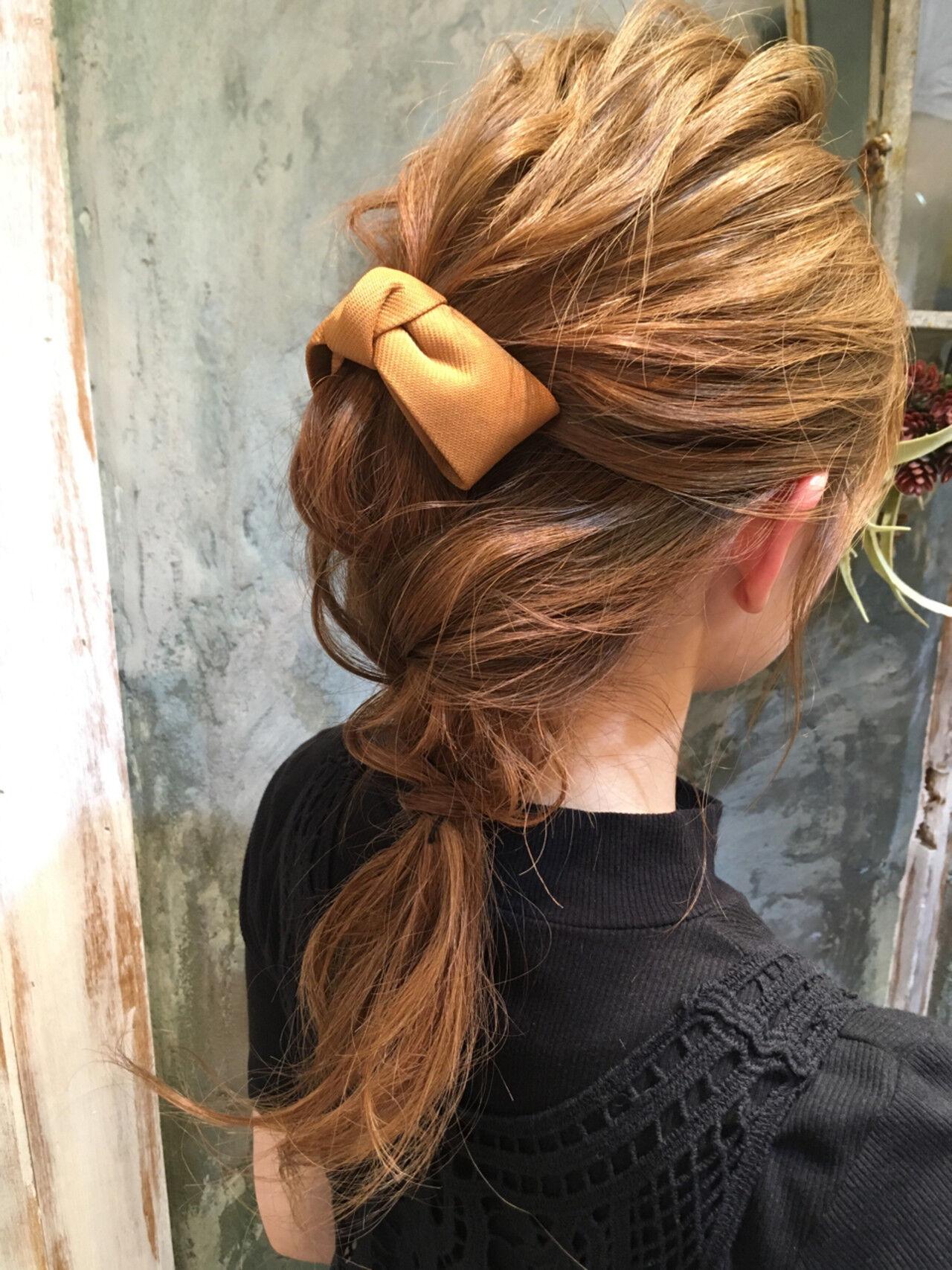ハーフアップ くせ毛風 ショート 簡単ヘアアレンジヘアスタイルや髪型の写真・画像