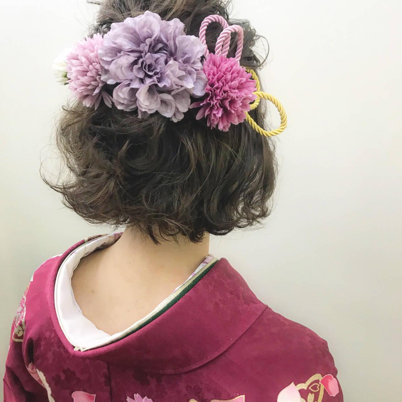 ヘアアレンジ 成人式 ナチュラル ボブヘアスタイルや髪型の写真・画像