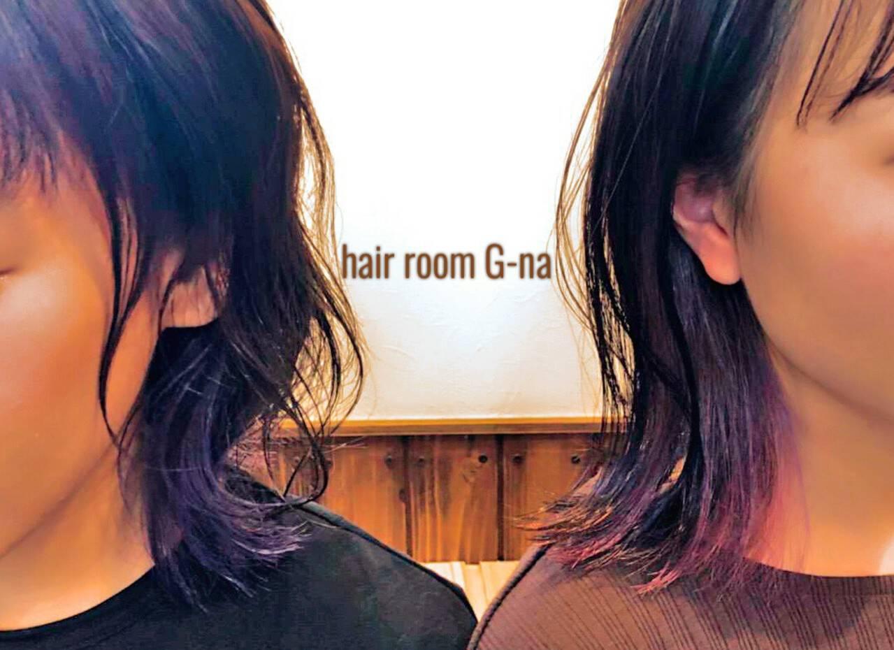 ストリート ミディアム ラベンダーアッシュ パープルヘアスタイルや髪型の写真・画像