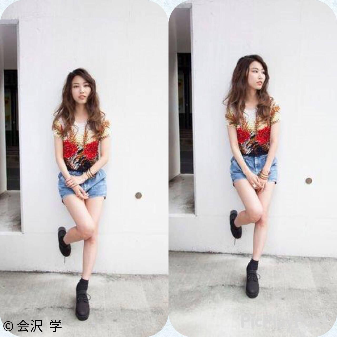 外国人風 ハイライト エフォートレス ロングヘアスタイルや髪型の写真・画像