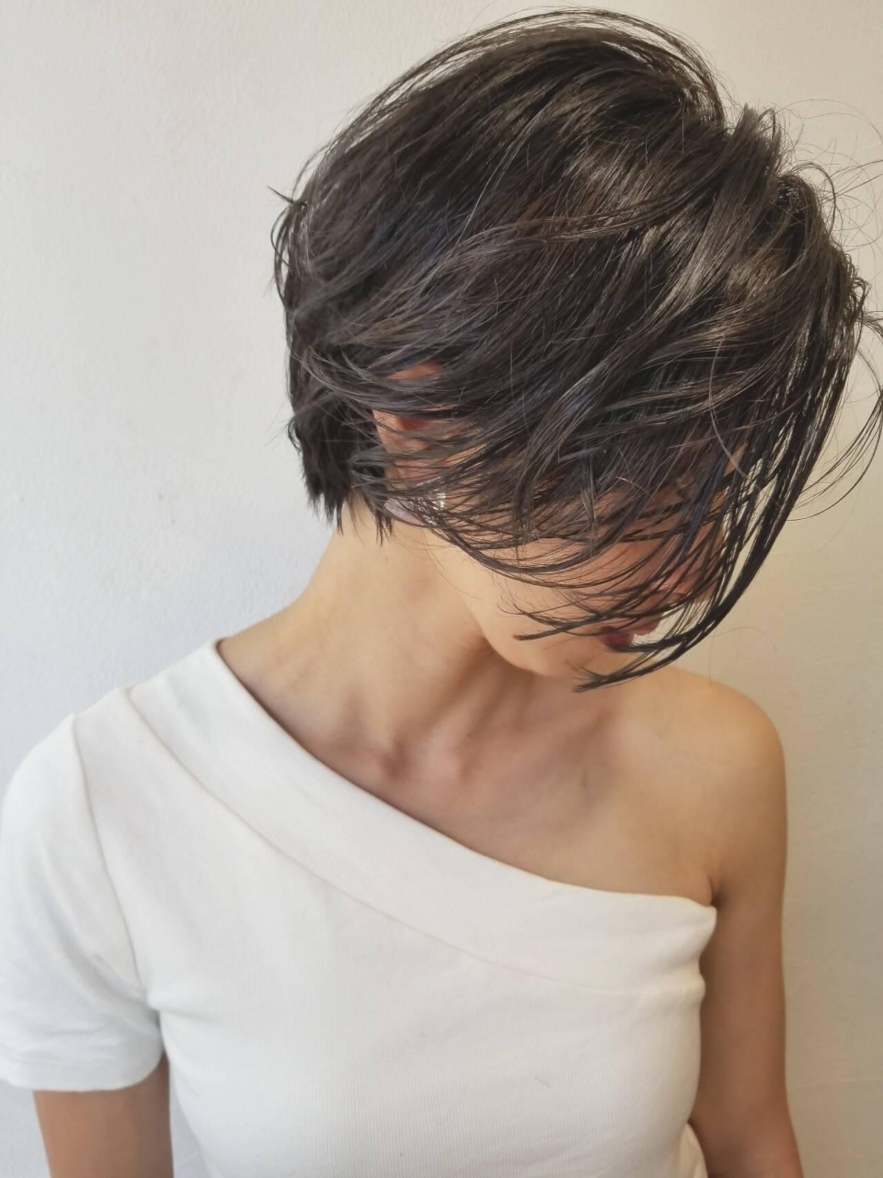 外国人風 デート ショート ハイライトヘアスタイルや髪型の写真・画像