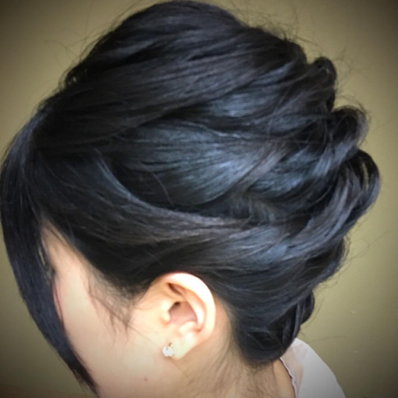 暗髪 ナチュラル ヘアアレンジ ボブヘアスタイルや髪型の写真・画像