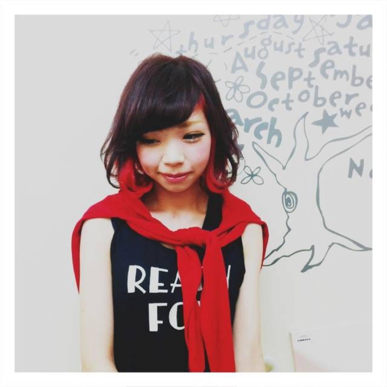 イエロー ストリート ピンク 黒髪ヘアスタイルや髪型の写真・画像