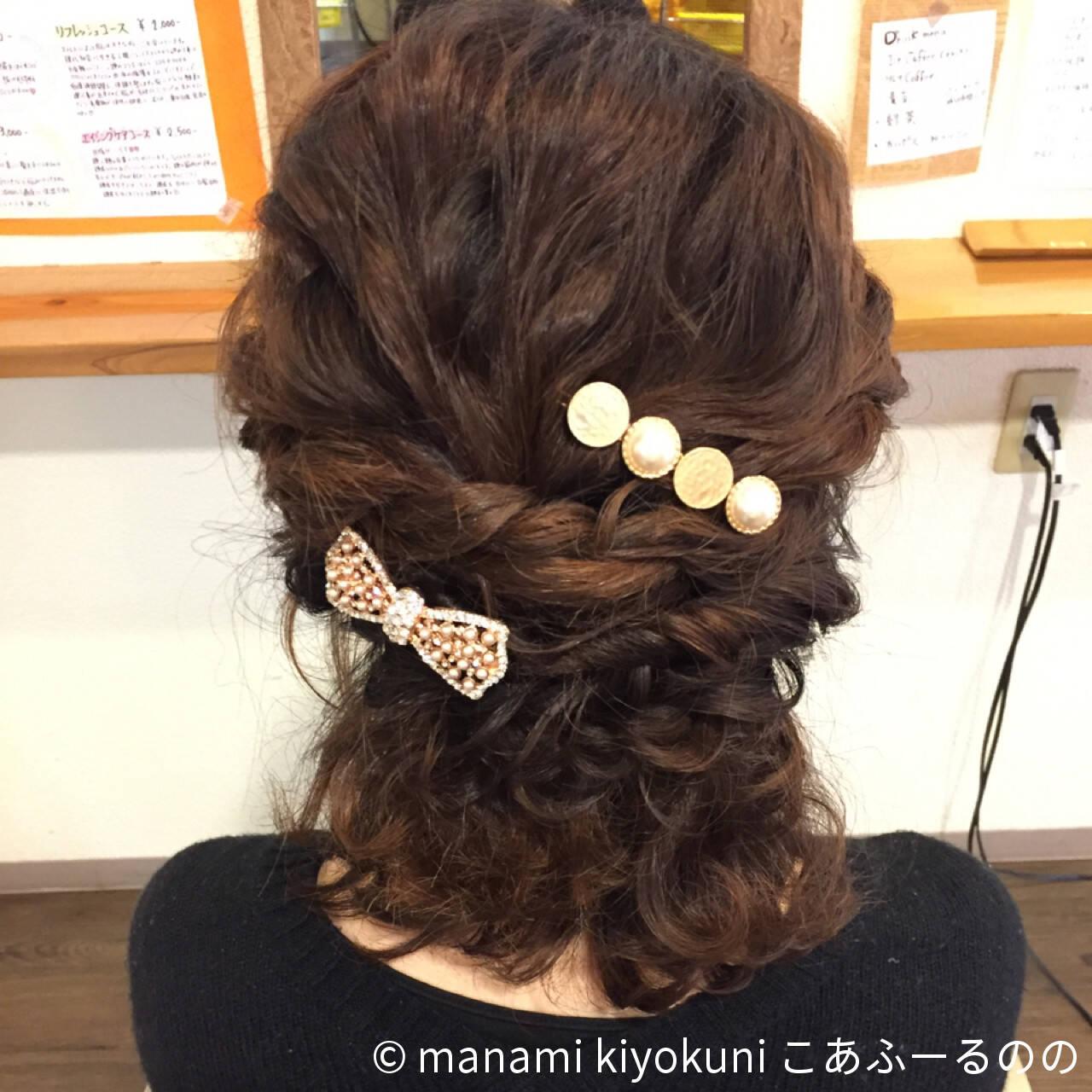 結婚式 ヘアアレンジ フェミニン ハーフアップヘアスタイルや髪型の写真・画像