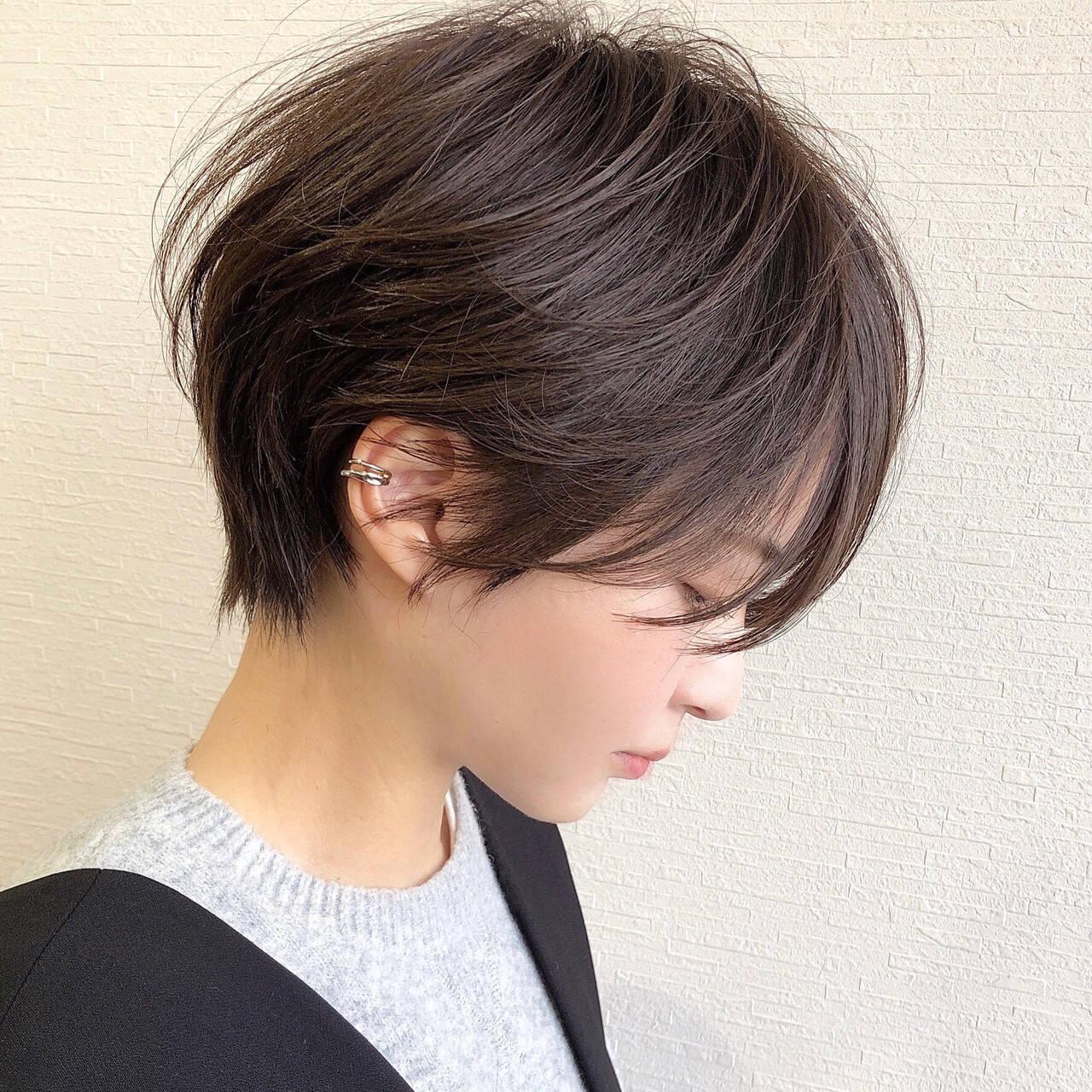 ショートヘア ナチュラル ショート ハンサムショートヘアスタイルや髪型の写真・画像