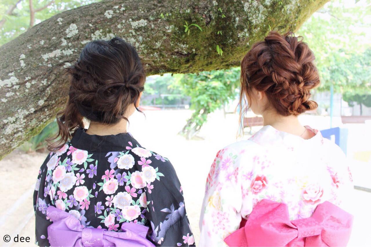 編み込み ヘアアレンジ セミロング 夏ヘアスタイルや髪型の写真・画像