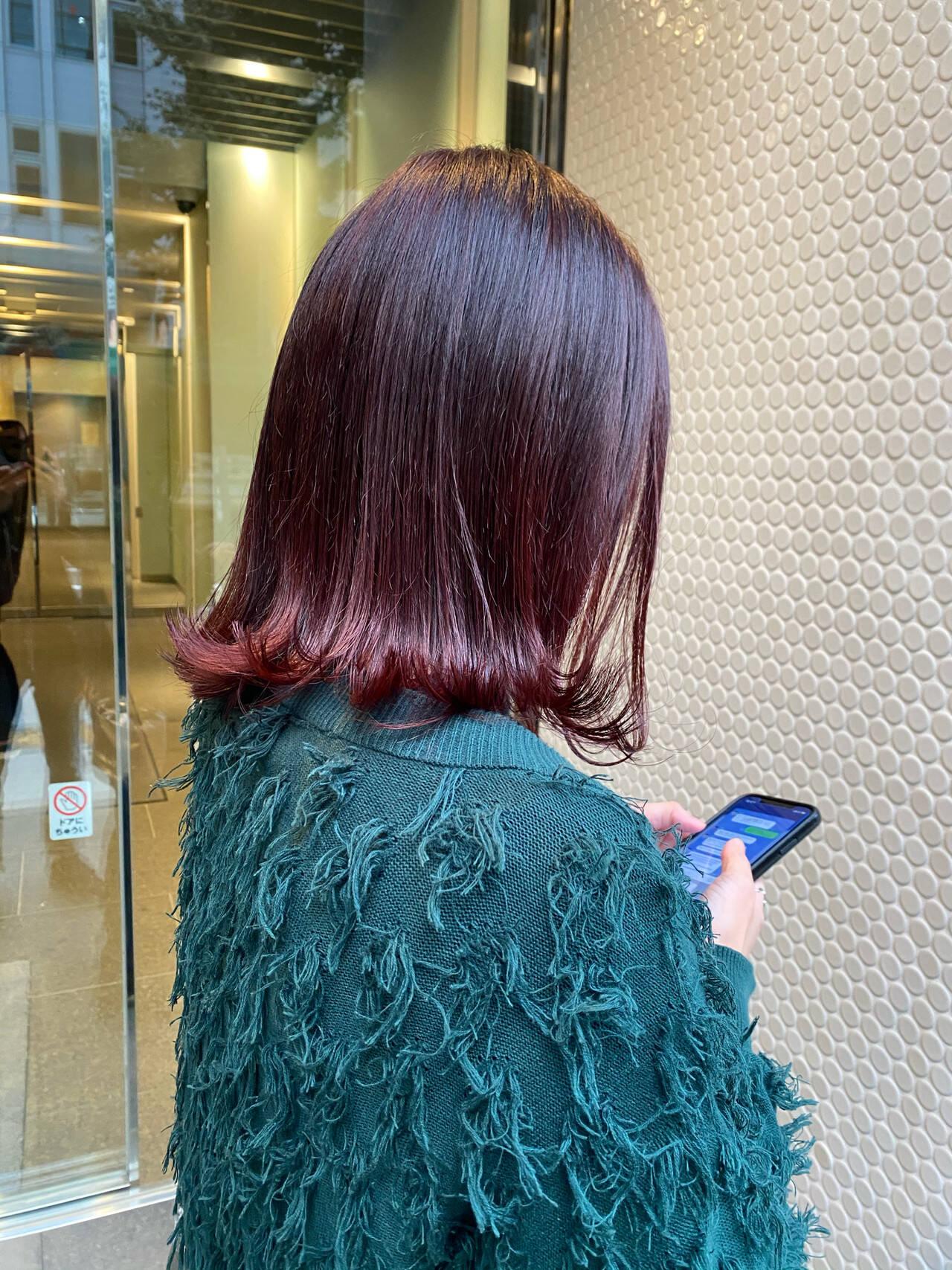 ストリート ボブ ノーブリーチ チェリーレッドヘアスタイルや髪型の写真・画像