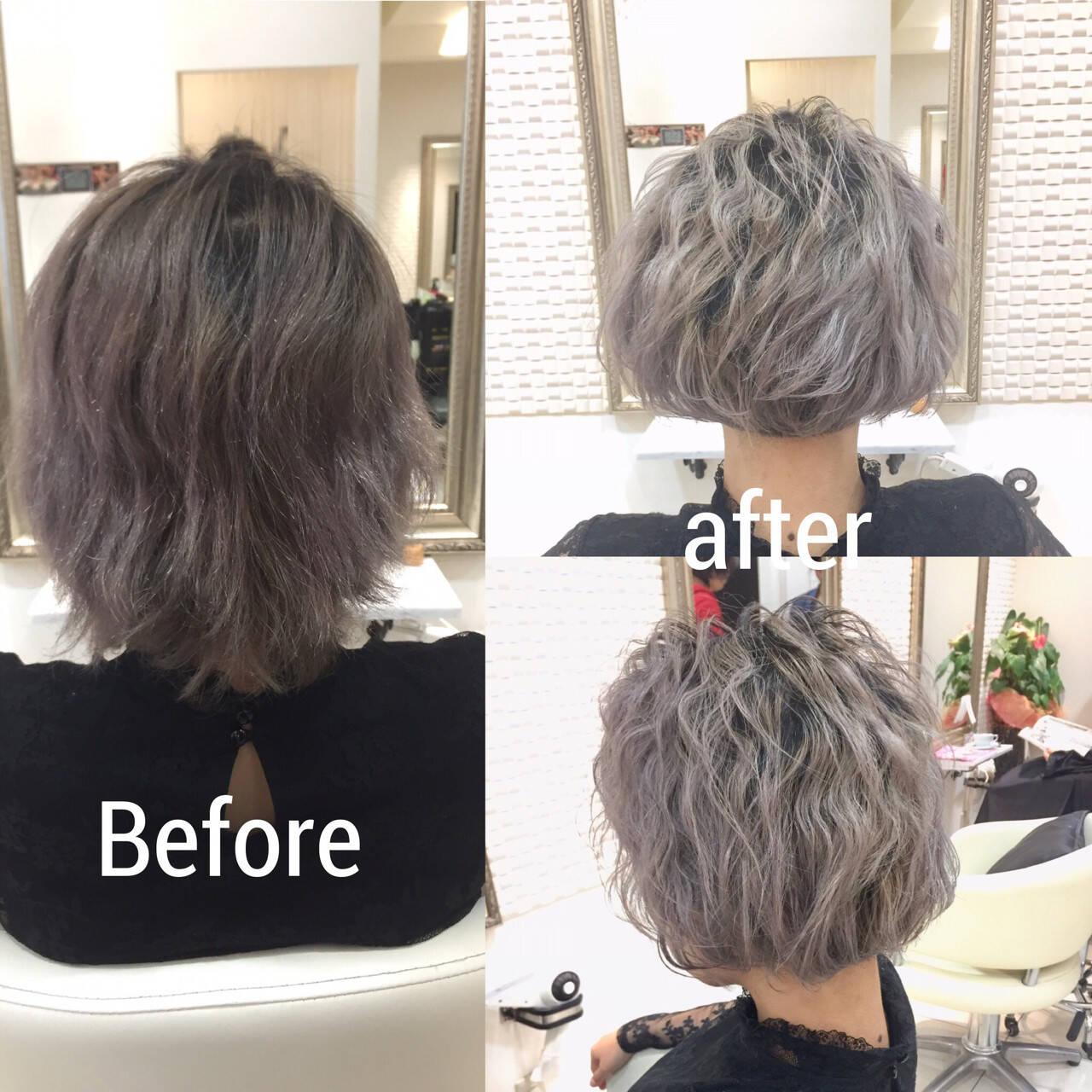 外国人風 ボブ 波ウェーブ グラデーションカラーヘアスタイルや髪型の写真・画像