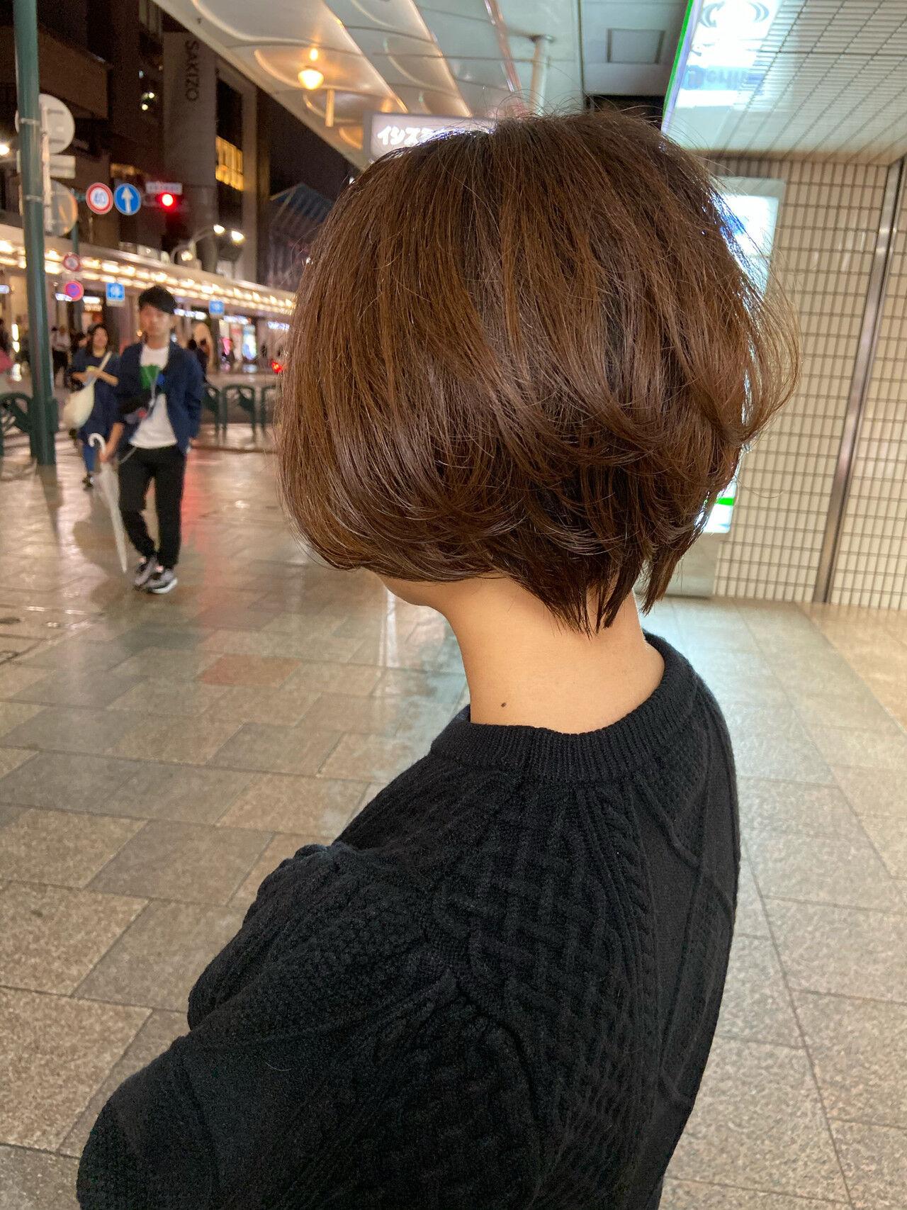 ハンサムショート ショートボブ ショートヘア ミニボブヘアスタイルや髪型の写真・画像