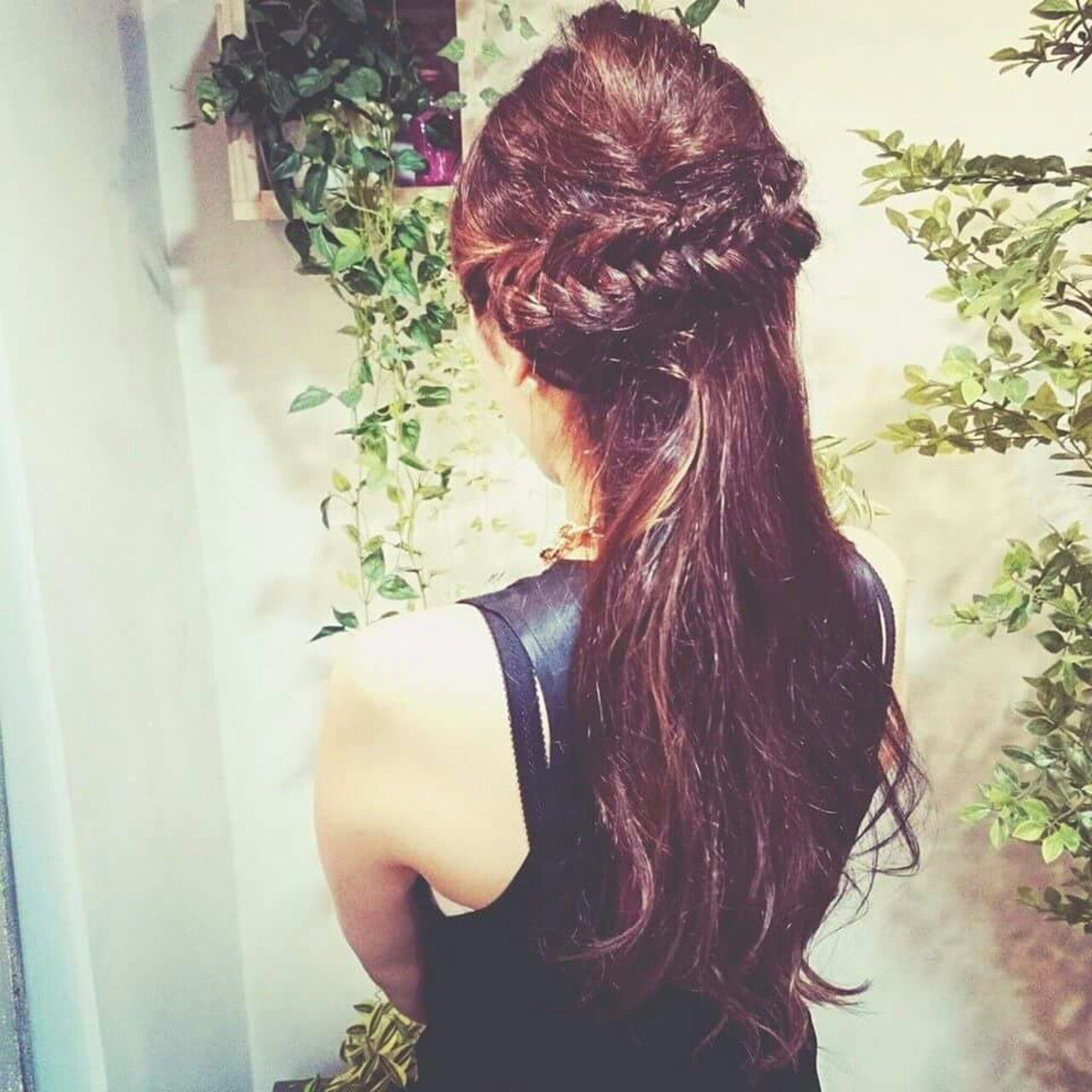 ピュア 編み込み ヘアアレンジ ロングヘアスタイルや髪型の写真・画像