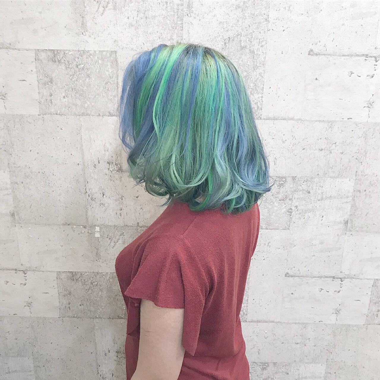 ダブルカラー 外国人風カラー ハイトーン ミディアムヘアスタイルや髪型の写真・画像