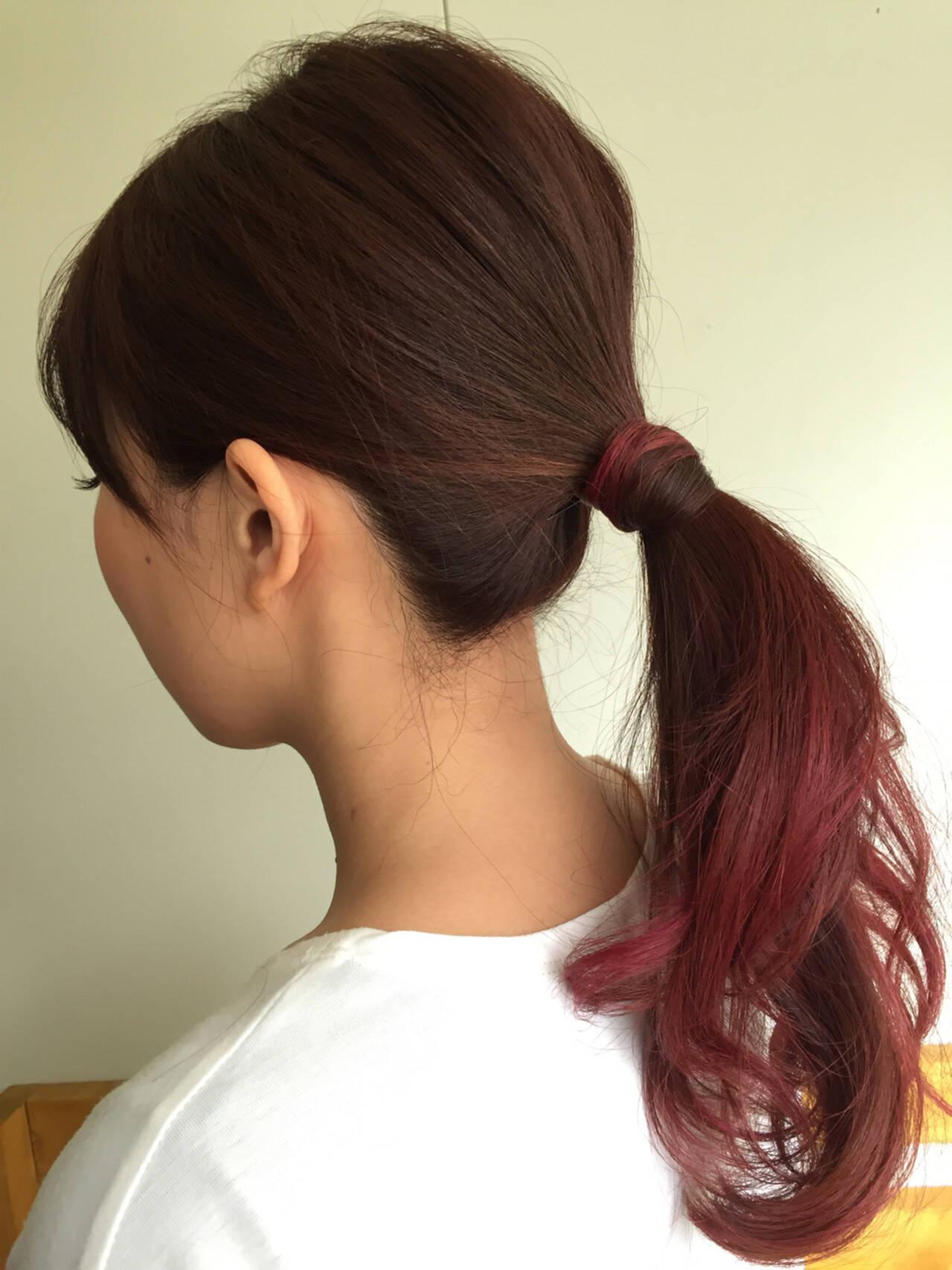 ロング 簡単ヘアアレンジ ローポニーテール ポニーテールヘアスタイルや髪型の写真・画像