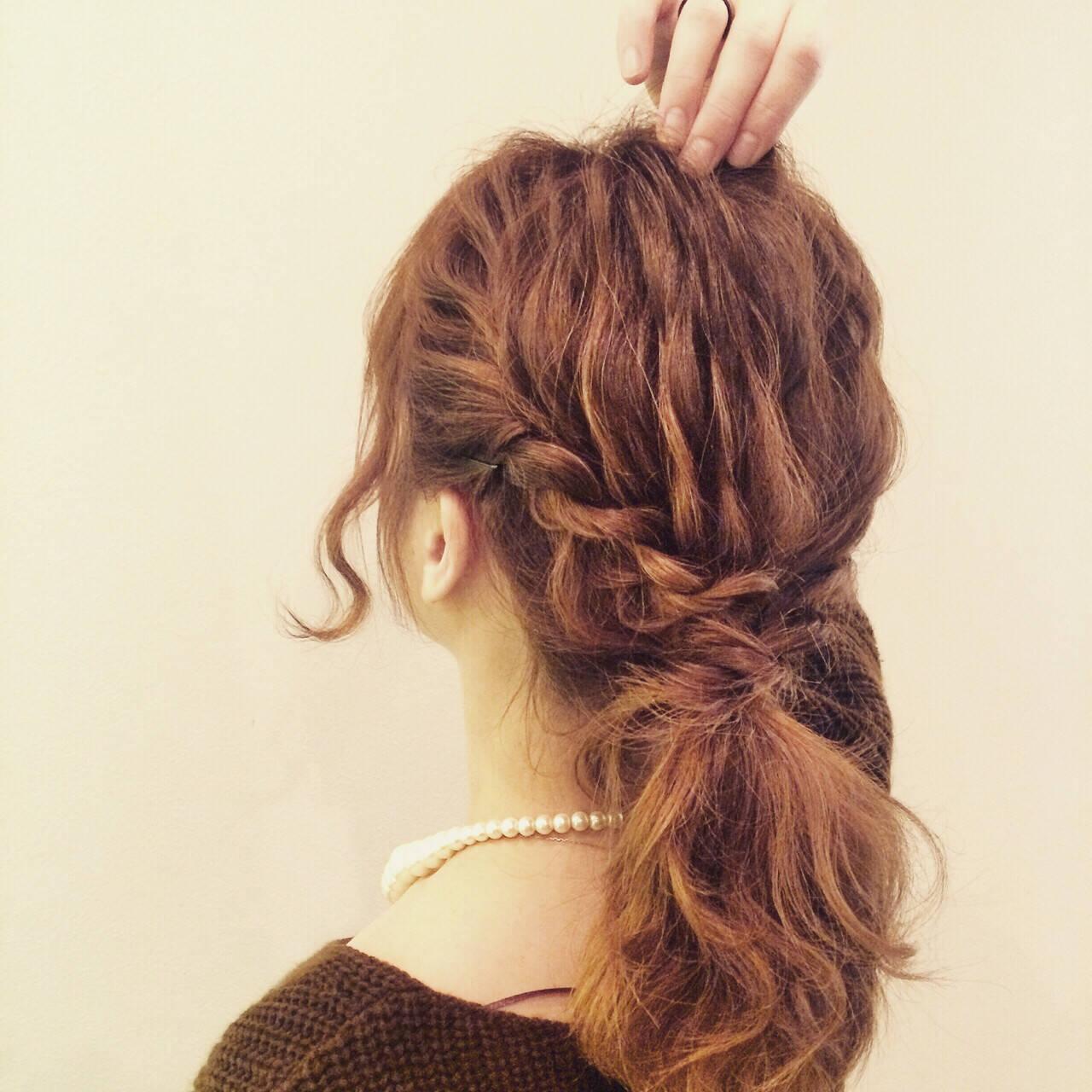 ボブ ロープ編み ヘアアレンジ ミディアムヘアスタイルや髪型の写真・画像