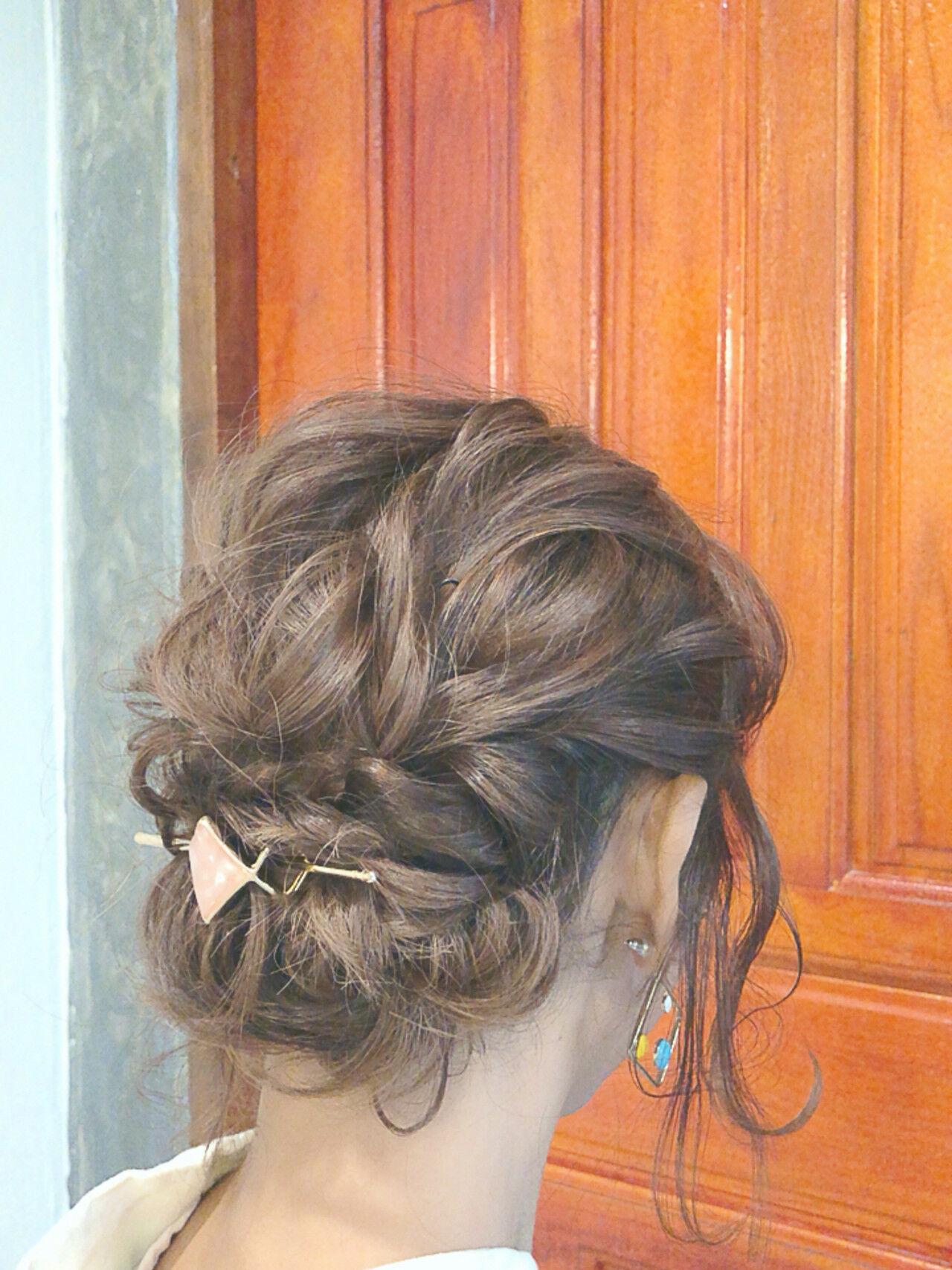 ゆるふわセット 浴衣ヘア 大人可愛い ミディアムヘアスタイルや髪型の写真・画像