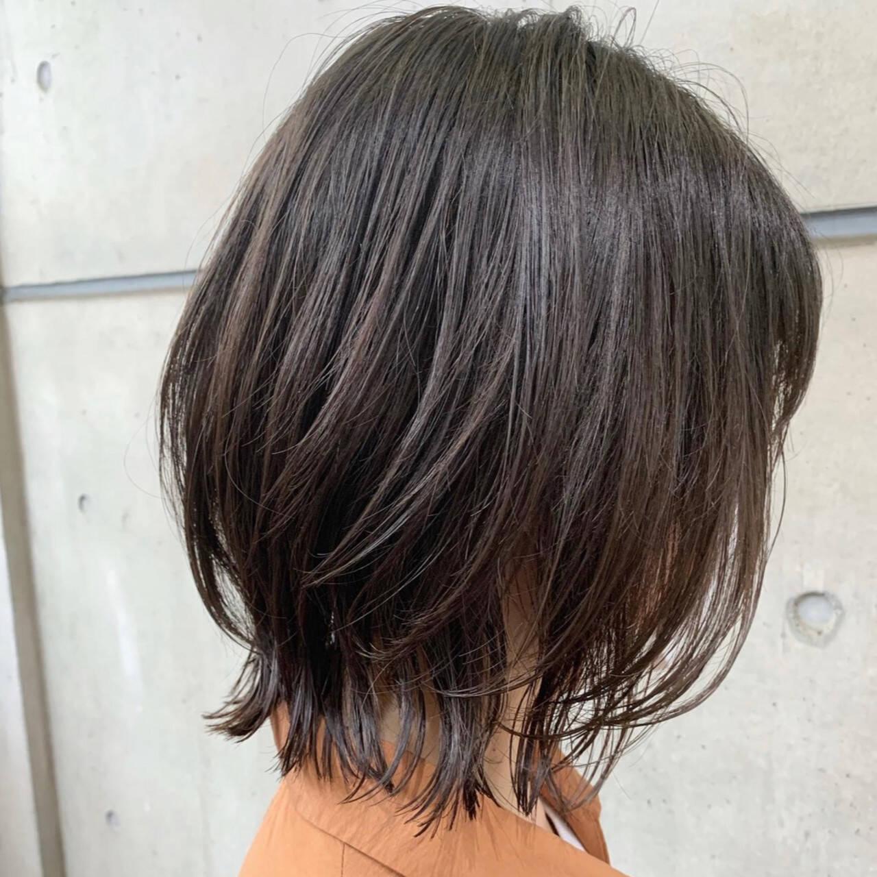 ウルフパーマ ボブ ボブウルフ 毛先パーマヘアスタイルや髪型の写真・画像