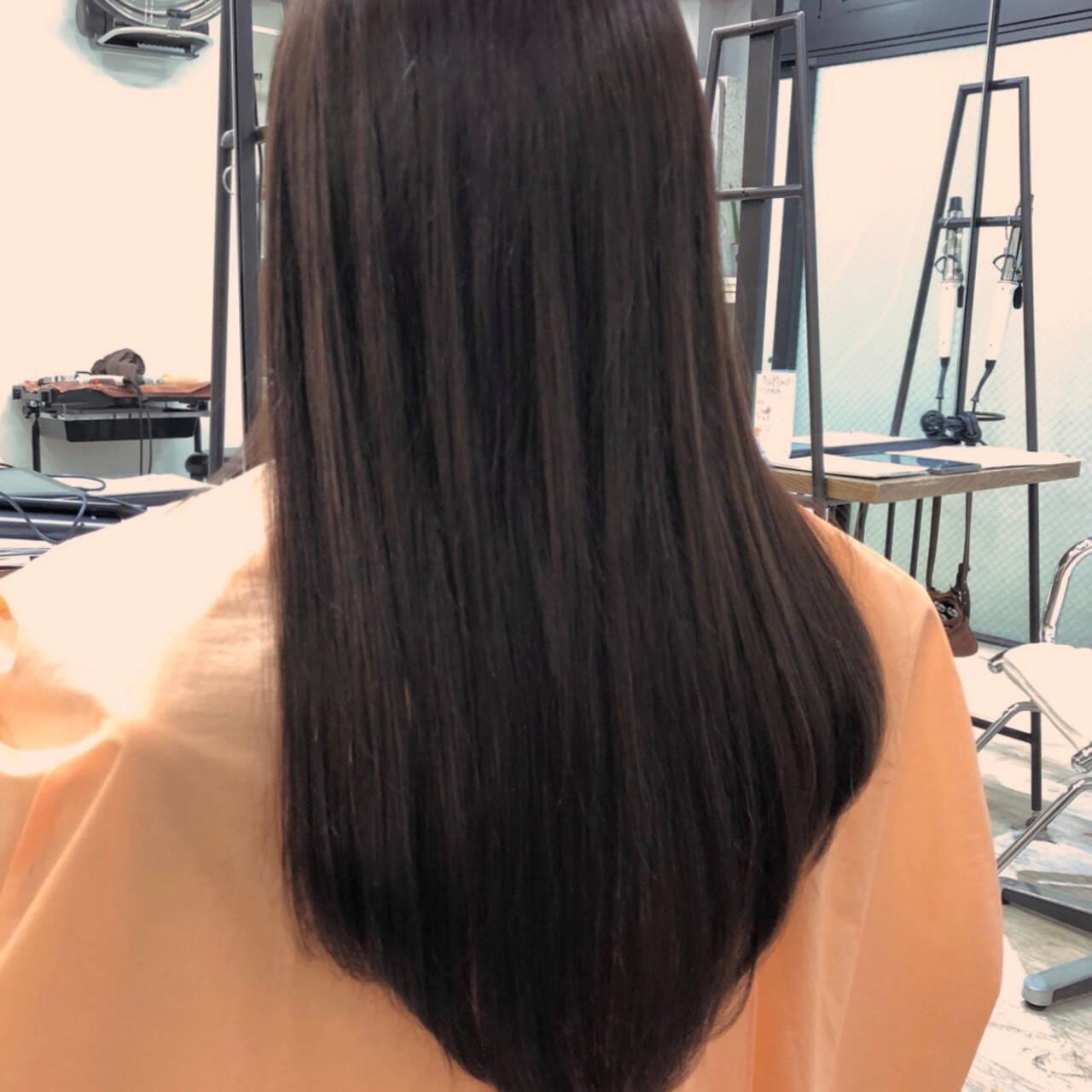 エクステ ワンレン ナチュラル ロングヘアスタイルや髪型の写真・画像