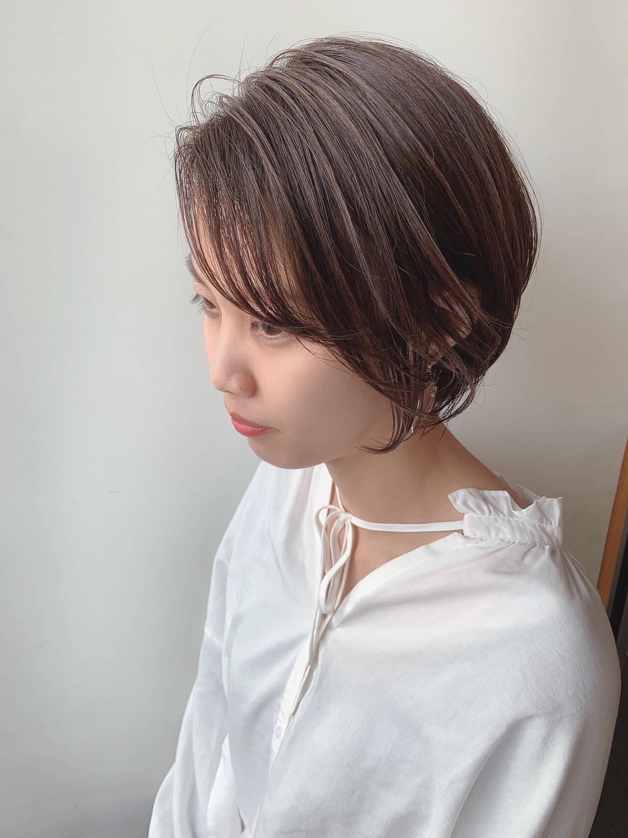 透明感カラー ハイライト ハンサムショート ショートヘアスタイルや髪型の写真・画像