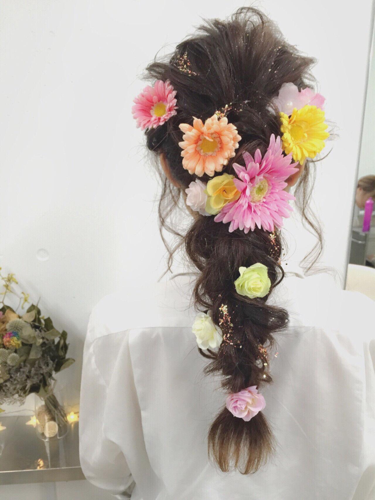 ショート 簡単ヘアアレンジ ハーフアップ ゆるふわヘアスタイルや髪型の写真・画像