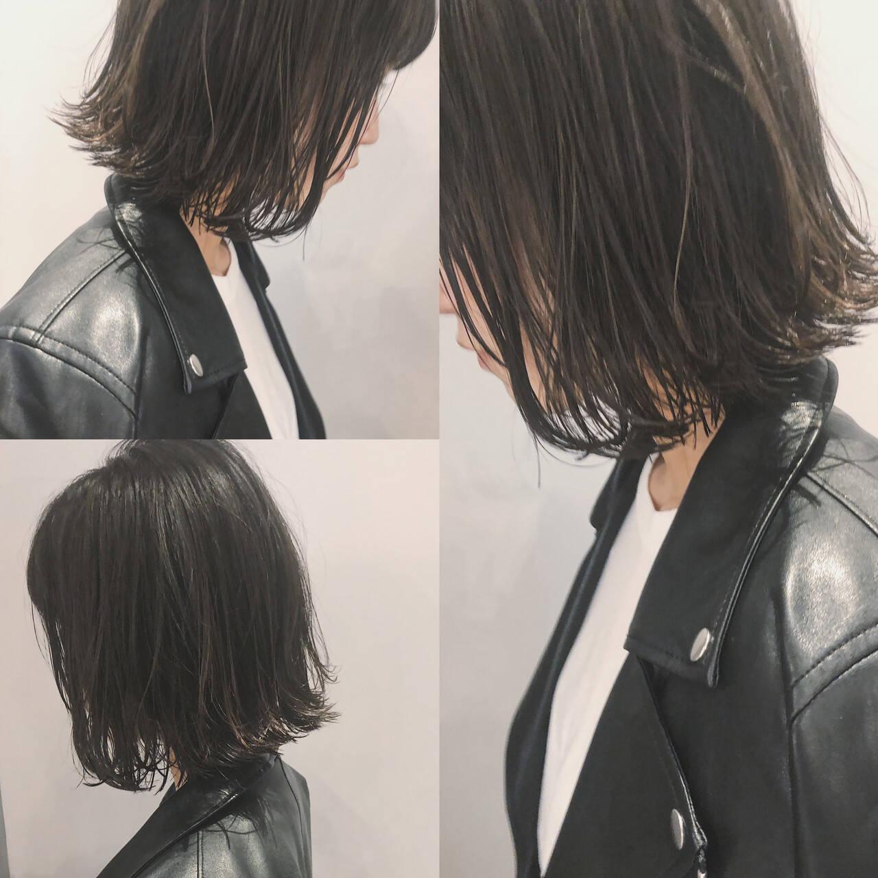 切りっぱなしボブ ショートボブ ナチュラル ミニボブヘアスタイルや髪型の写真・画像