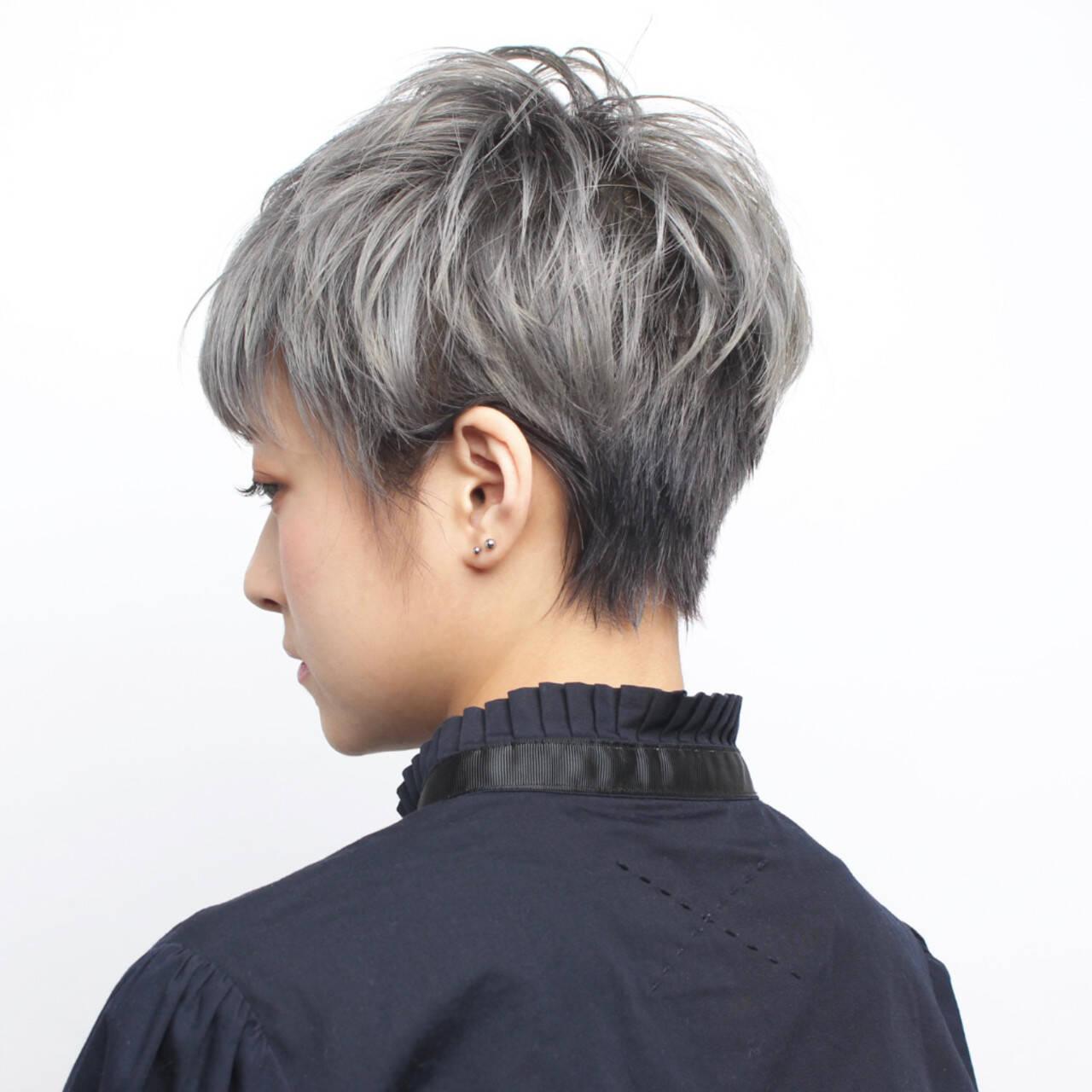 ハンサムショート モード ショートボブ ベリーショートヘアスタイルや髪型の写真・画像