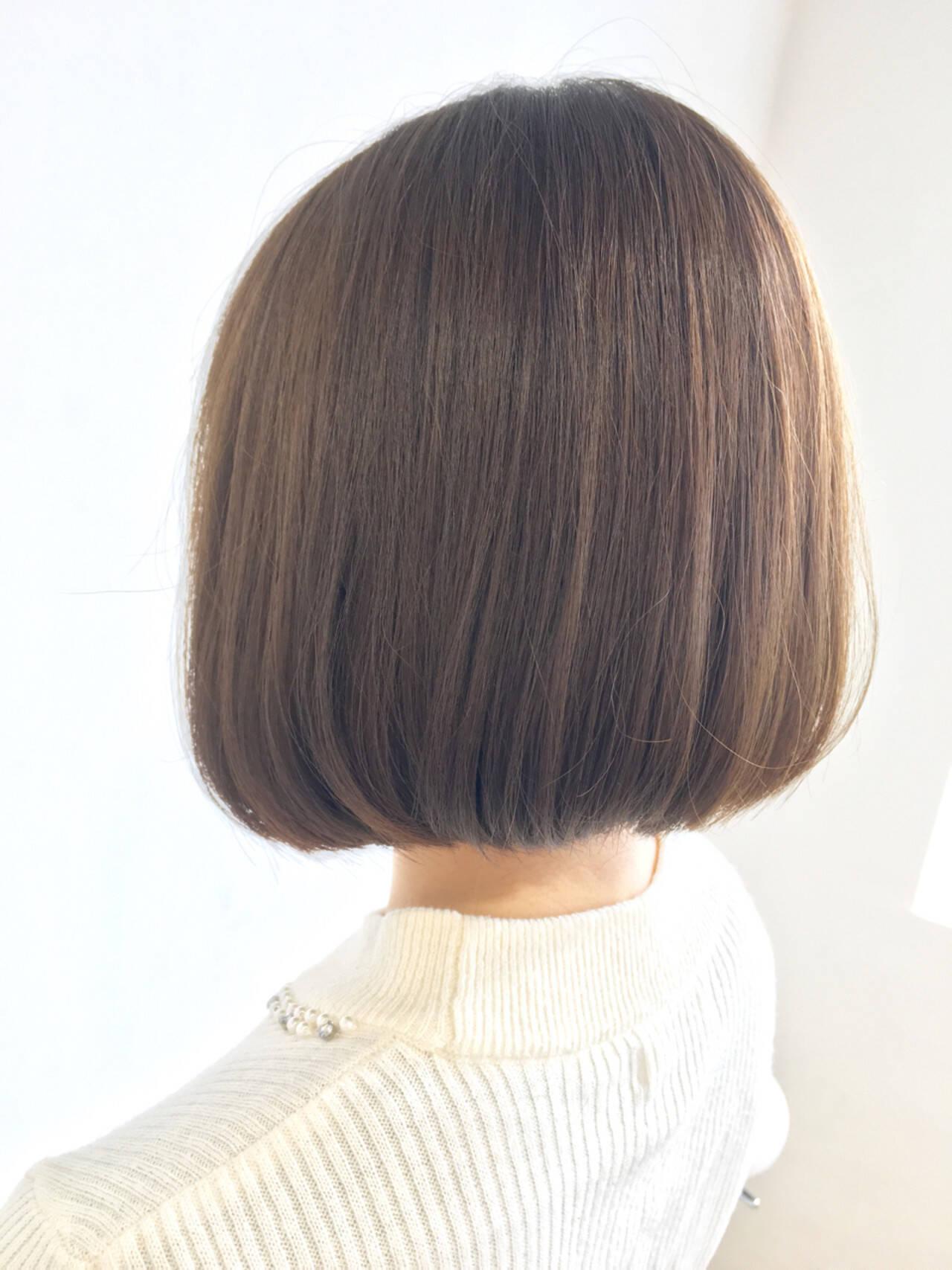 ボブ フェミニン ワンレングス ナチュラルヘアスタイルや髪型の写真・画像