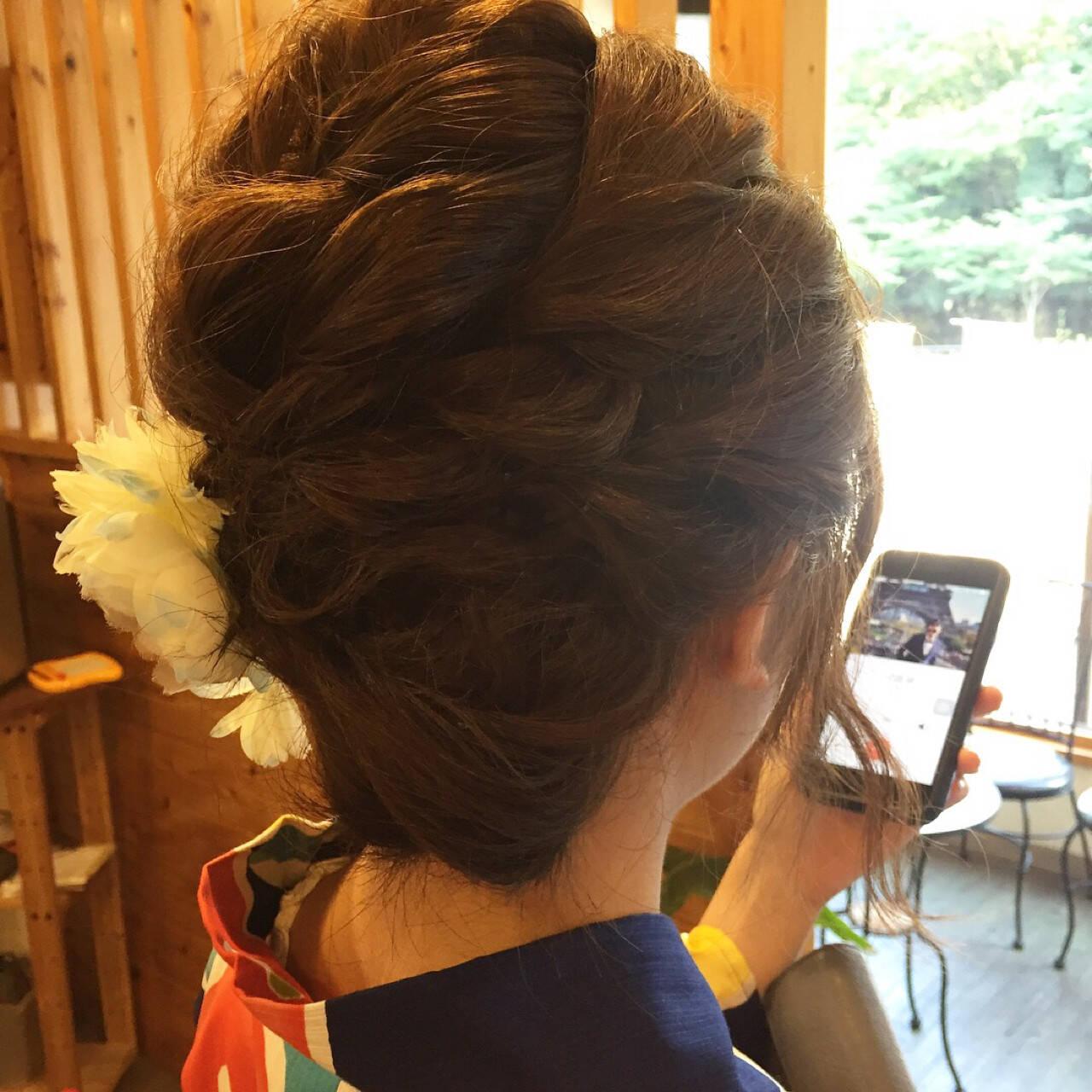 ミディアム ヘアアレンジ 和装 色気ヘアスタイルや髪型の写真・画像
