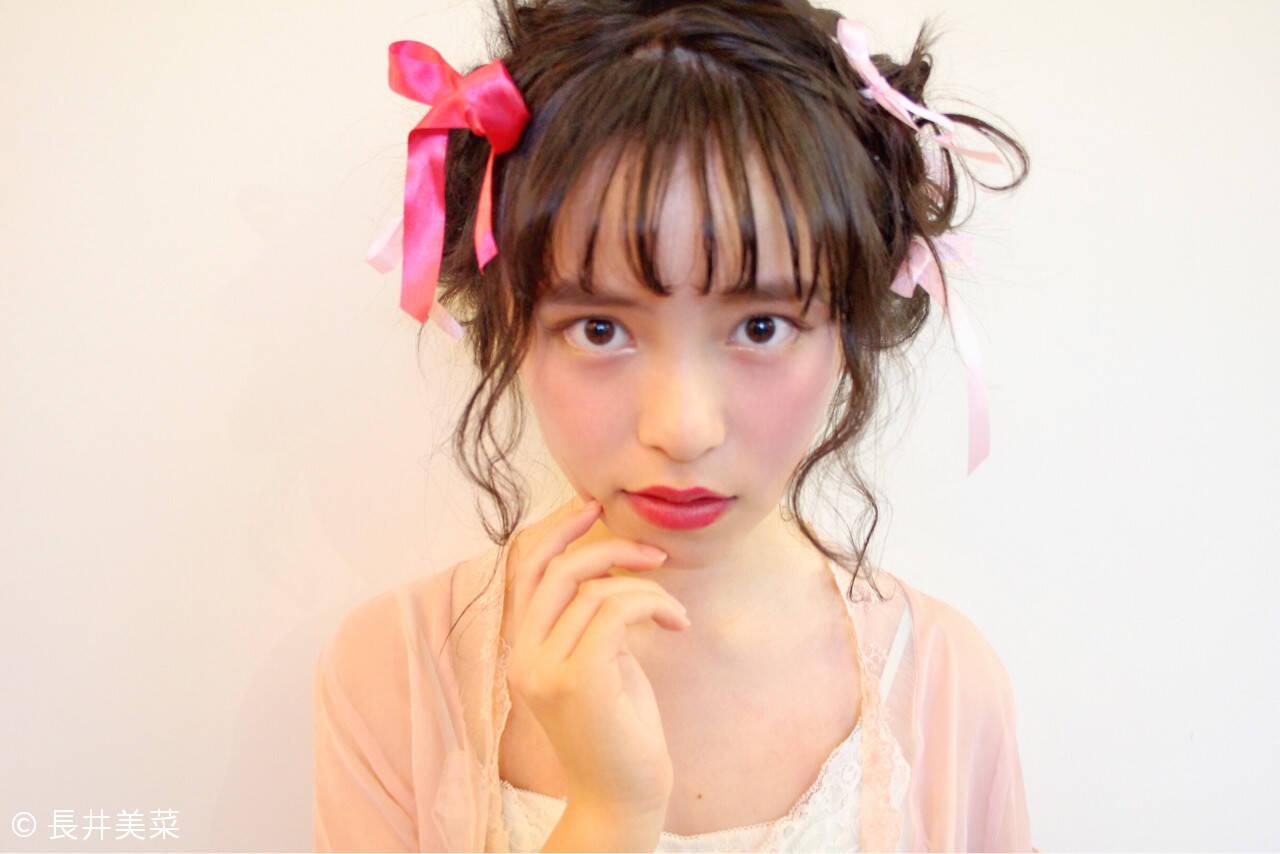 簡単ヘアアレンジ 大人女子 前髪あり ゆるふわヘアスタイルや髪型の写真・画像