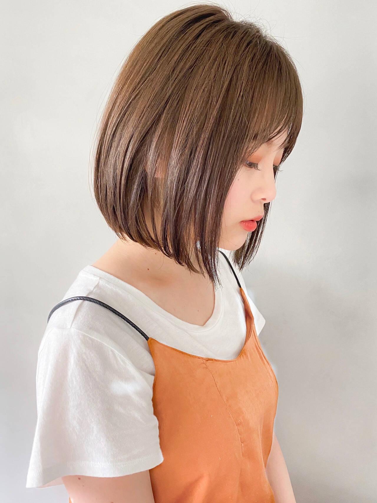 パーティ 透明感カラー 外ハネボブ ショートボブヘアスタイルや髪型の写真・画像