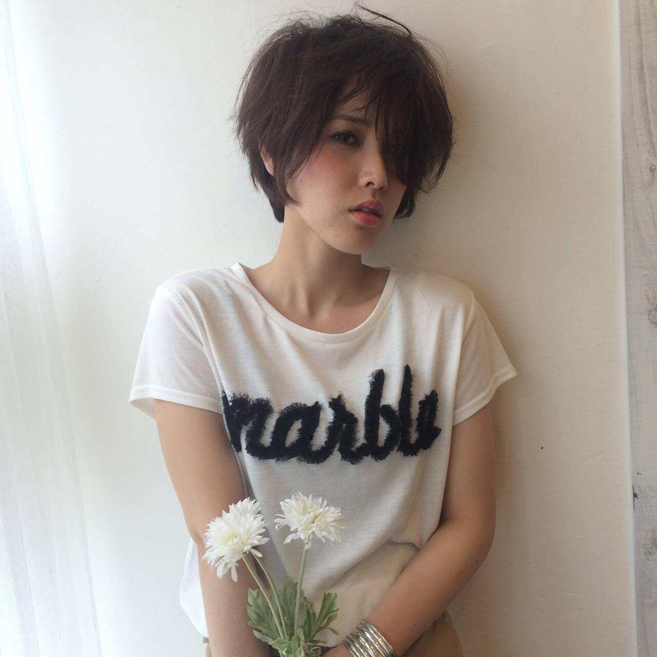 ショート モード 小顔 似合わせヘアスタイルや髪型の写真・画像