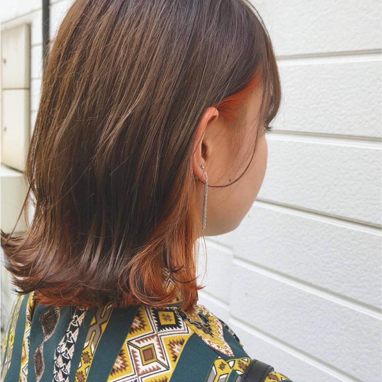 ロブ ウェットヘア ストリート ボブヘアスタイルや髪型の写真・画像