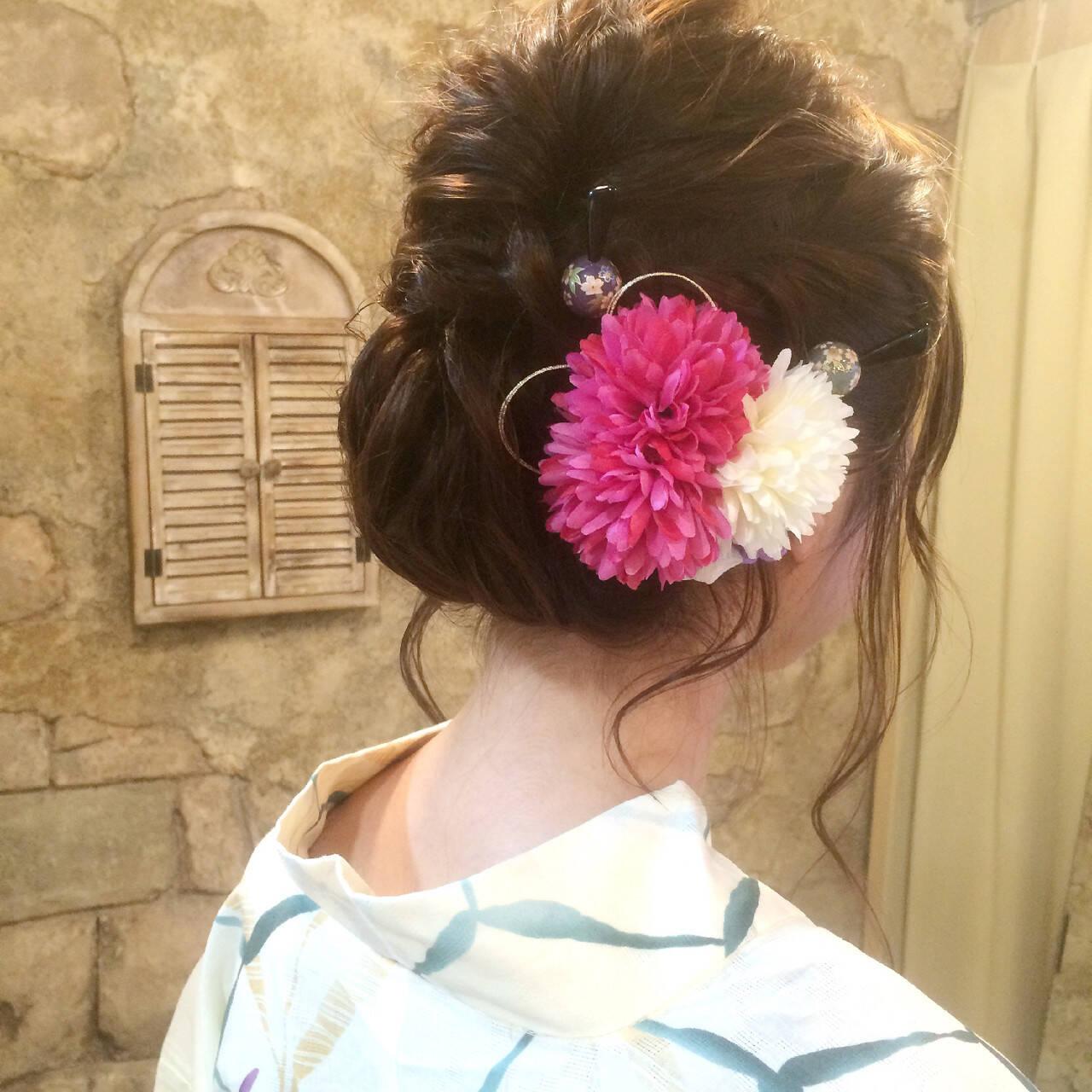成人式 和装 セミロング シニヨンヘアスタイルや髪型の写真・画像