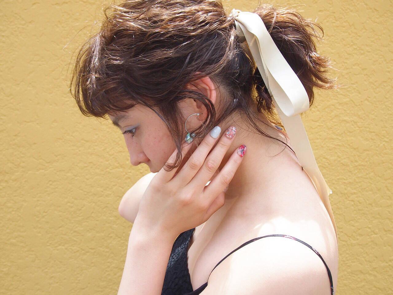 ハイライト ボブ ポニーテール ヘアアレンジヘアスタイルや髪型の写真・画像