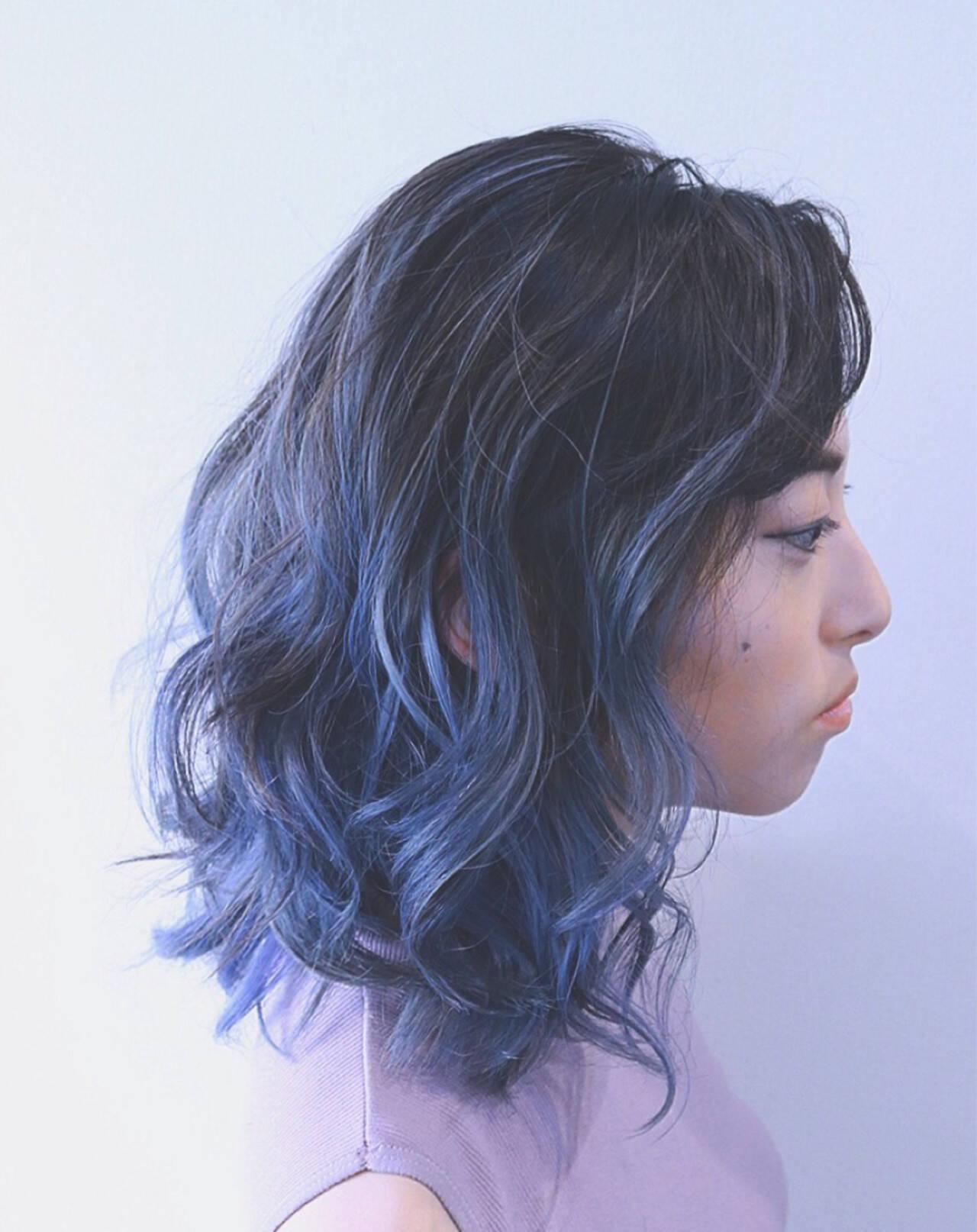 パープル インナーカラー ボブ ハイライトヘアスタイルや髪型の写真・画像