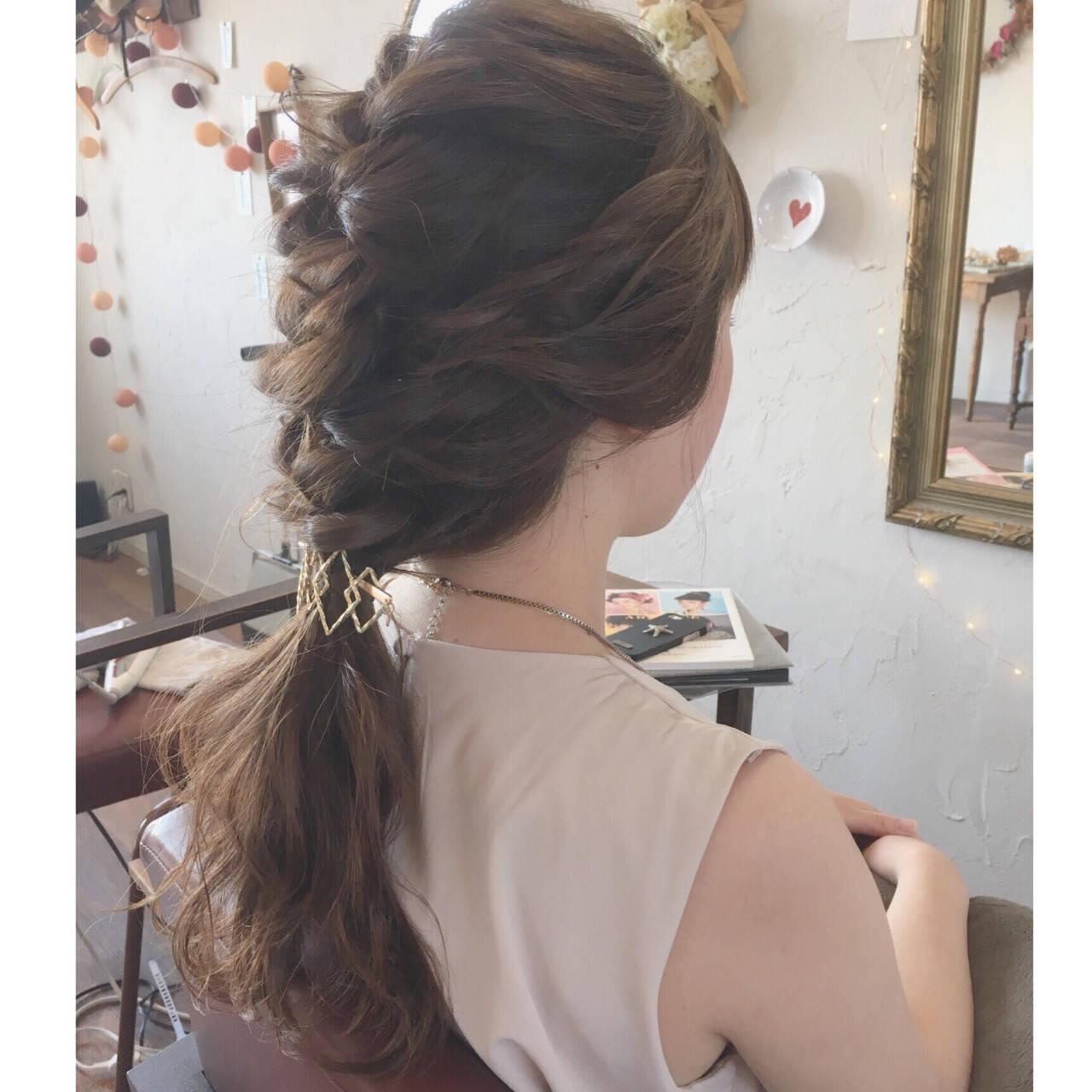 デート 簡単ヘアアレンジ セミロング 結婚式ヘアスタイルや髪型の写真・画像