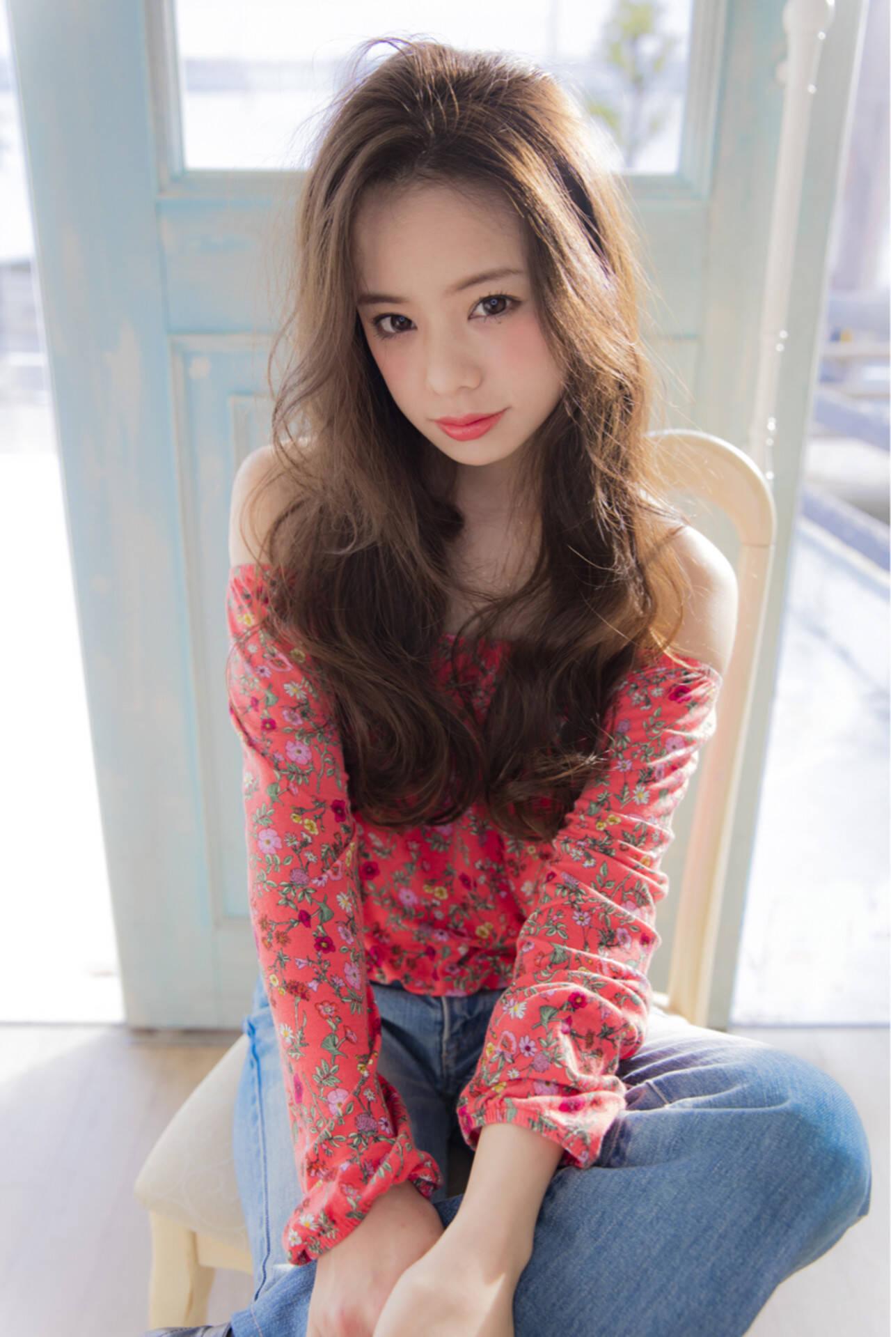 フェミニン 大人かわいい ゆるふわ ロングヘアスタイルや髪型の写真・画像