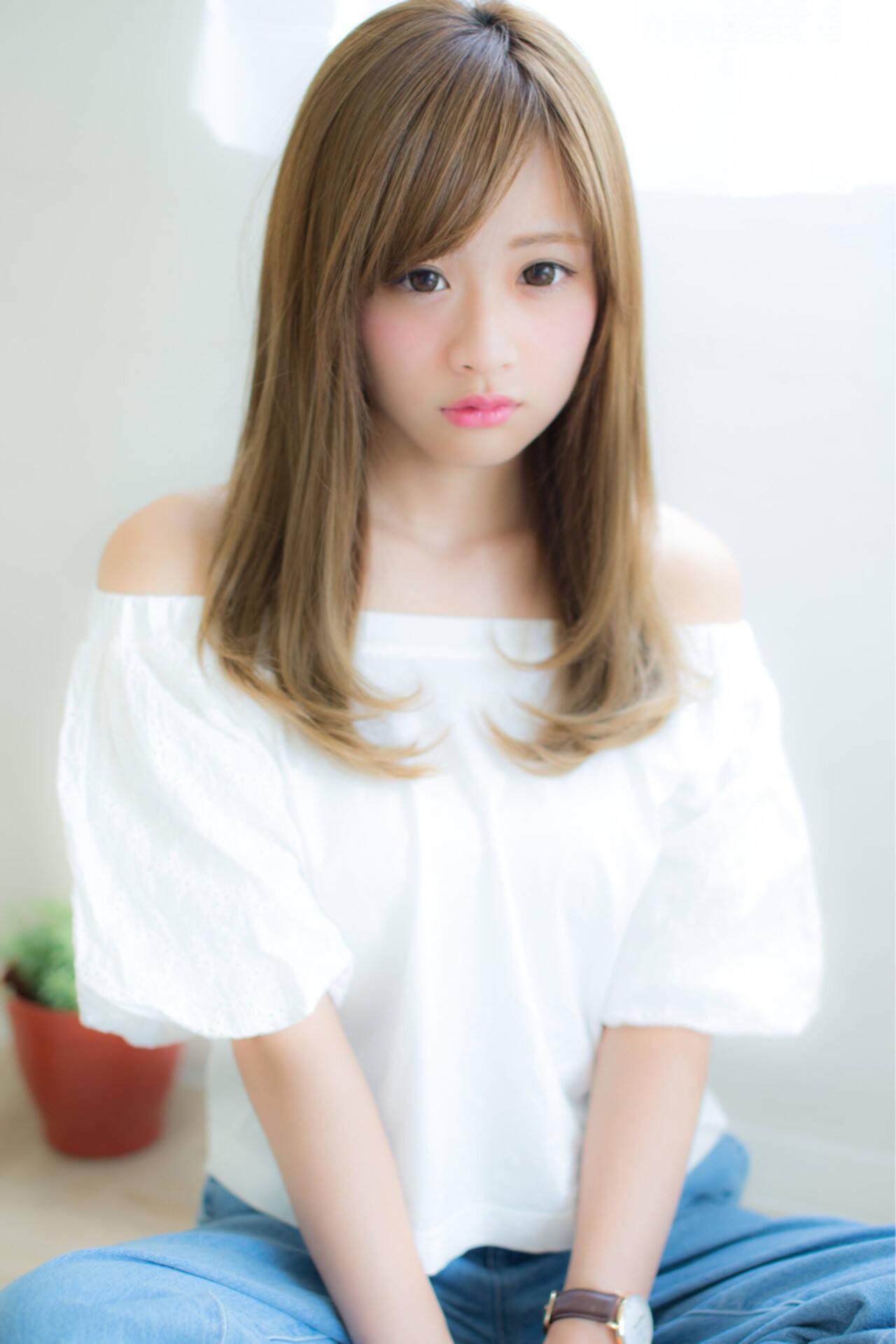 セミロング 縮毛矯正 パーマ 大人かわいいヘアスタイルや髪型の写真・画像