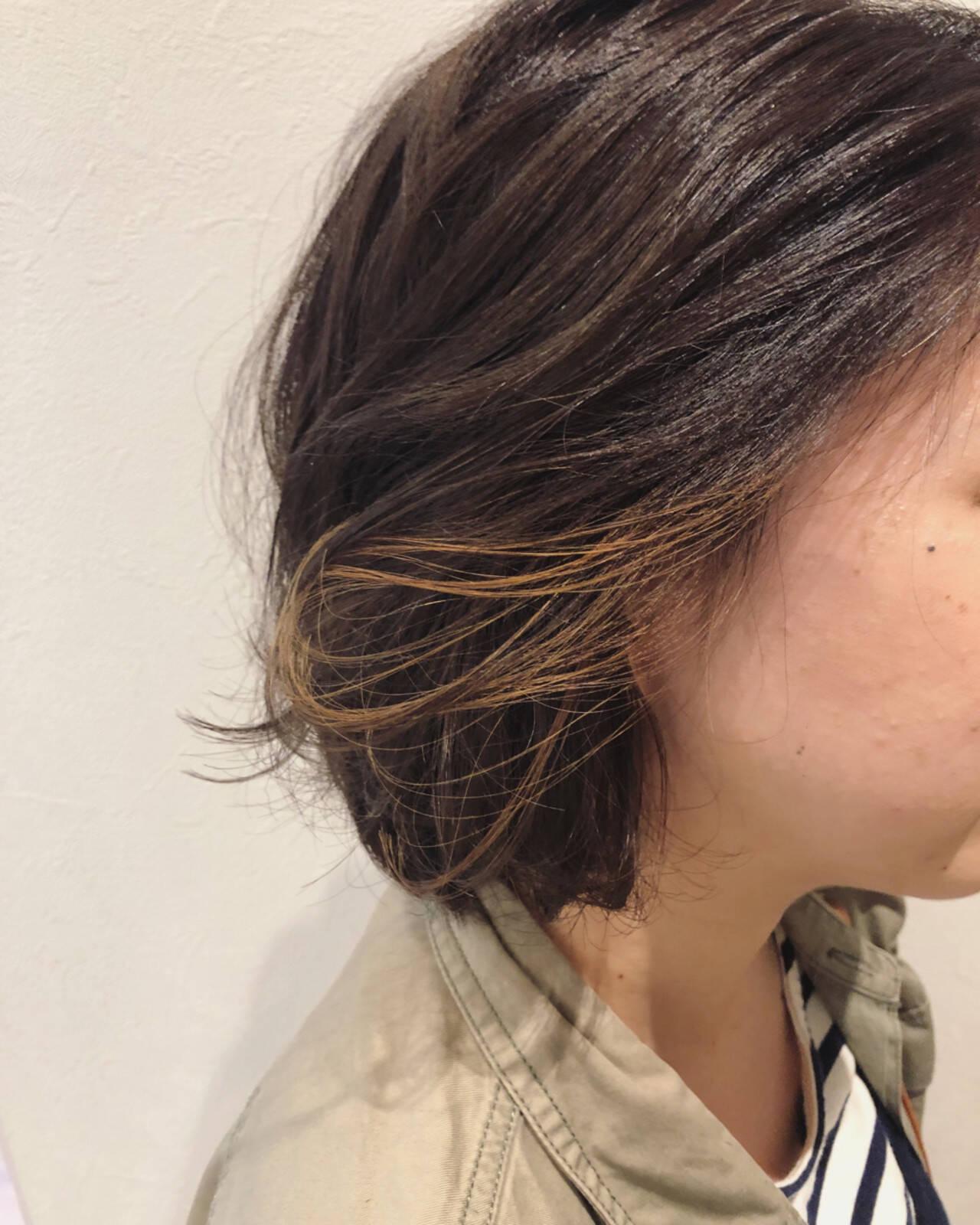 ボブ イルミナカラー インナーカラー ナチュラルヘアスタイルや髪型の写真・画像